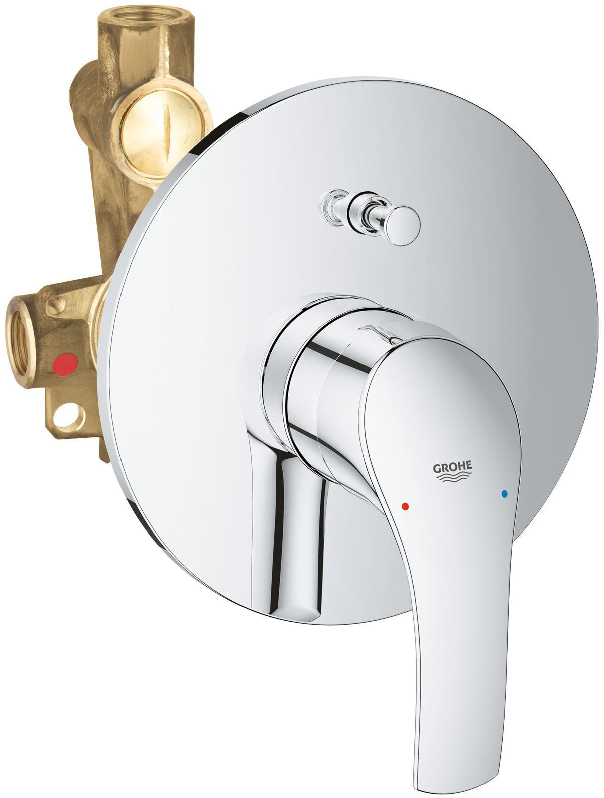Смеситель для ванны GROHE Eurosmart New встраиваемый (со встроенным механизмом), хром  комплект смесителей grohe 116939 eurosmart cosmo