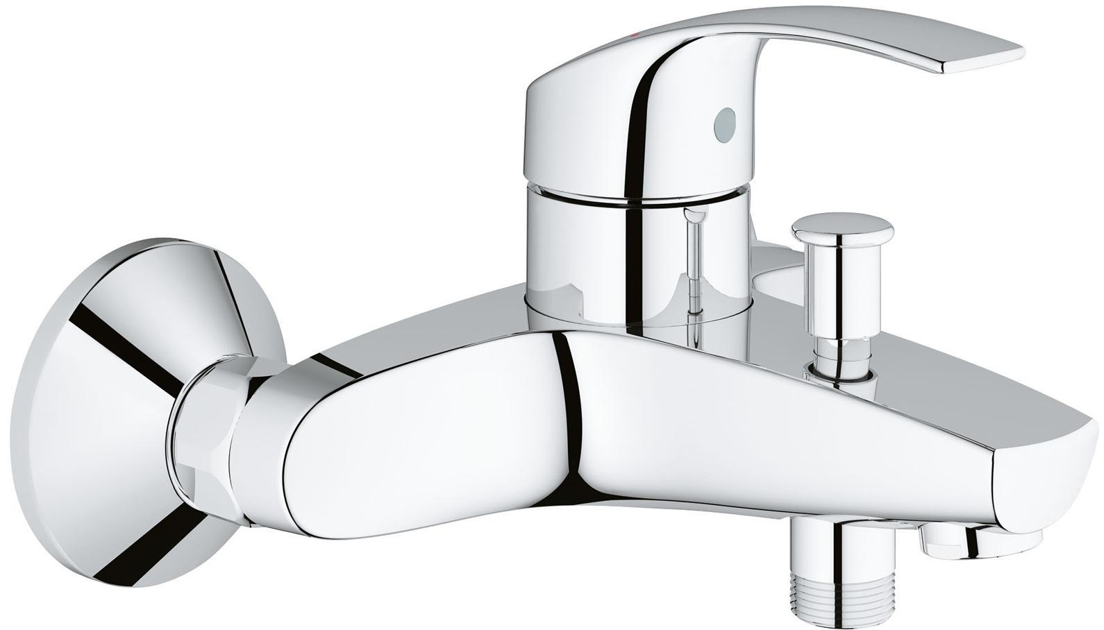 Смеситель для ванны GROHE Eurosmart New, хром33635002GROHE Eurosmart: смеситель для ванны, с которым купание будет приносить удовольствие Этот смеситель для ванны оснащен автоматическим переключателем «ванна-душ», а также встроенным ограничителем температуры, предотвращающим ошпаривание. Технология GROHE SilkMove обеспечивает плавность и легкость регулировки температуры и напора воды, позволяя Вам наслаждаться полным расслаблением при принятии душа. Благодаря долговечному хромированному покрытию GROHE StarLight, этот смеситель из коллекции Eurosmart станет эффектным дополнением к оснащению Вашей ванной комнаты и будет радовать Вас неприхотливостью в уходе.Особенности:Настенный монтаж Металлический рычаг GROHE SilkMove керамический картридж 35 мм С ограничителем температуры Регулировка расхода воды GROHE StarLight хромированная поверхностьАвтоматический переключатель: ванна/душ Встроенный обратный клапан в душевом отводе 1/2? Аэратор Скрытые S-образные эксцентрики Отражатели из металла С защитой от обратного потокаВидео по установке является исключительно информационным. Установка должна проводиться профессионалами! Серия: Eurosmart New; цвет: хром