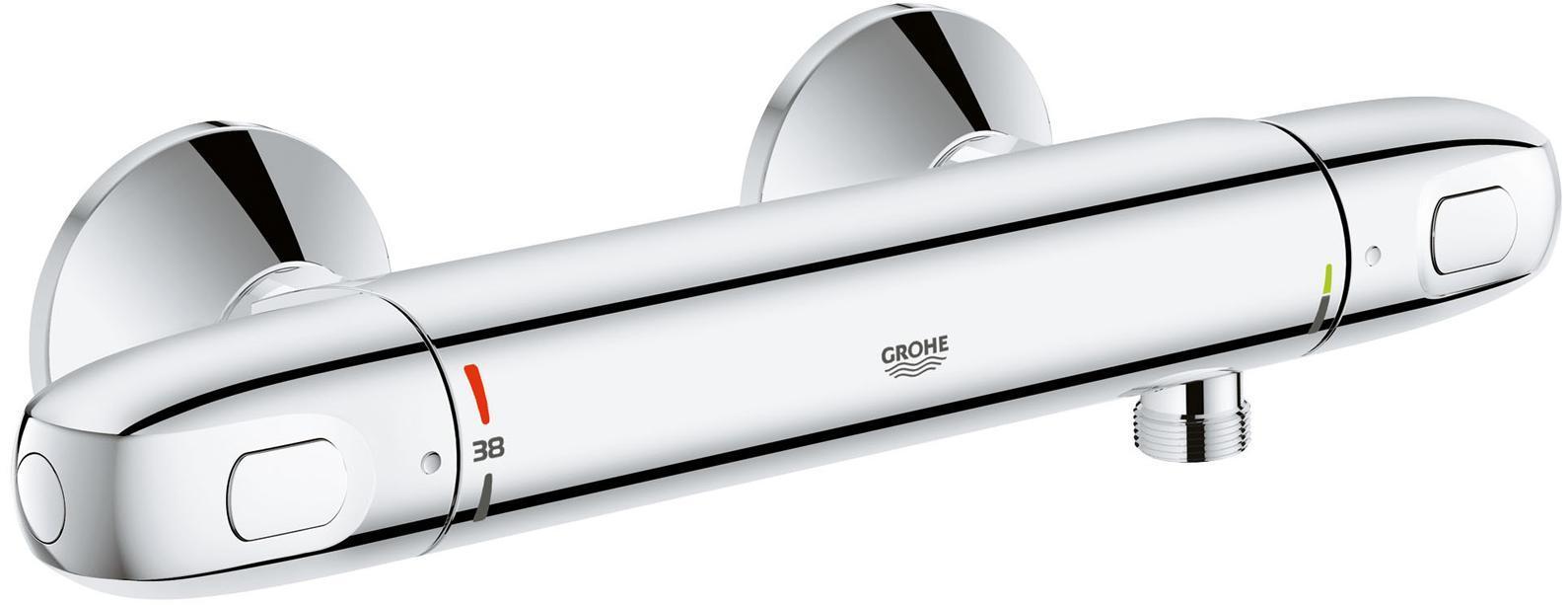Термостат для душа GROHE Grohterm 1000 New, хром68/5/3GROHE Grohtherm 1000 New: душевой термостат с технологией GROHE CoolTouch, надежно обеспечивающий комфорт в ванной комнатеПриходилось ли Вам испытывать на себе это ощущение, когда при принятии душа вода внезапно становится ледяной из-за того, что кто-то включил воду на кухне? С этим смесителем для душа такое больше никогда не повторится! Благодаря встроенной технологии GROHE TurboStat, он будет надежно поддерживать заданную Вами температуру воды на протяжении всего купания. Механизм защиты от ошпаривания SafeStop не позволит установить температуру воды, превышающую 38°C, не нажав на специальную клавишу для разблокировки ограничителя. Технология GROHE CoolTouch предотвращает нагрев корпуса термостата. Переключатель EcoButton позволит при желании принимать душ в экономичном режиме расхода воды, способствуя сбережению природных ресурсов. Благодаря металлическим рукояткам эргономичной формы и глянцевому хромированному покрытию GROHE StarLight, данный термостат станет эффектным акцентом в оснащении Вашей ванной комнаты. Воспользовавшись имеющимися соединениями, подведенными к поверхности стены, Вы сможете быстро установить и подготовить термостат к работе.Особенности:Настенный монтаж GROHE CoolTouch безопасный корпус GROHE StarLight хромированная поверхностьGROHE TurboStat встроенный термоэлемент GROHE MetalGrip эргономичная металлическая рукоятка Стопор безопасности при 38°C GROHE EcoJoy - технология совершенного потока при уменьшенном расходе водыРукоятка расхода с экономичной кнопкой GROHE EcoButtonИ индивидуально устанавливаемым стопором Встроенный стопор смешанной воды Керамический вентиль 1/2?, 180°Отвод для душа снизу 1/2? Встроенные обратные клапаны Грязеулавливающие фильтры Скрытые S-образные эксцентрики Металлическая розетка С защитой от обратного потока Опция: рукоятка для ограничения температуры до 43°C (47 973 000)Рекомендованное минимальное давление 1.0 барВидео по установке является исключительно информ