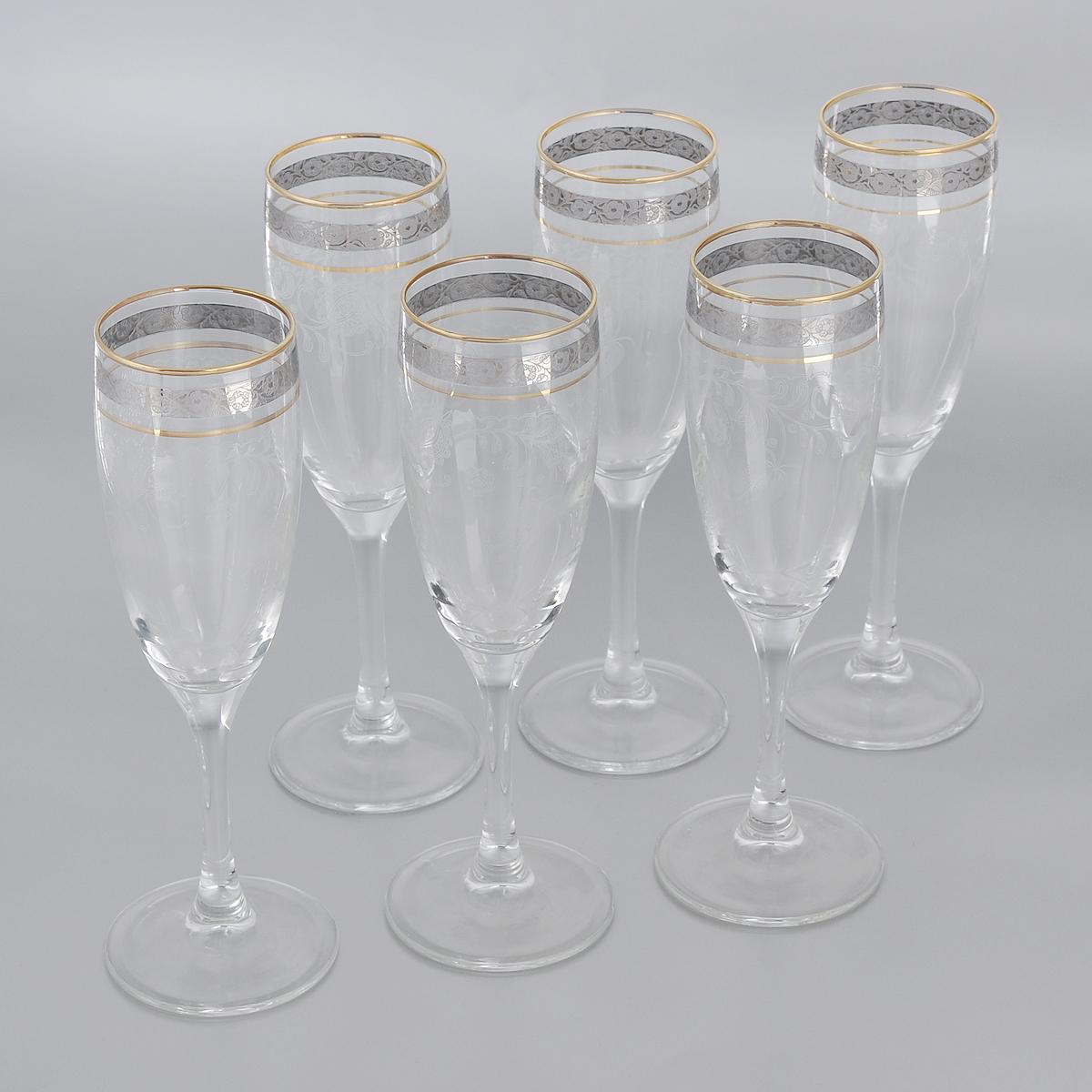 Набор бокалов Гусь-Хрустальный Нежность, 170 мл, 6 штVT-1520(SR)Набор Гусь-Хрустальный Нежность состоит из 6 бокалов на длинных тонких ножках, изготовленных из высококачественного натрий-кальций-силикатного стекла. Изделия оформлены красивым зеркальным покрытием и прозрачным орнаментом. Бокалы предназначены для шампанского или вина. Такой набор прекрасно дополнит праздничный стол и станет желанным подарком в любом доме. Разрешается мыть в посудомоечной машине. Диаметр бокала (по верхнему краю): 5 см. Высота бокала: 20 см.