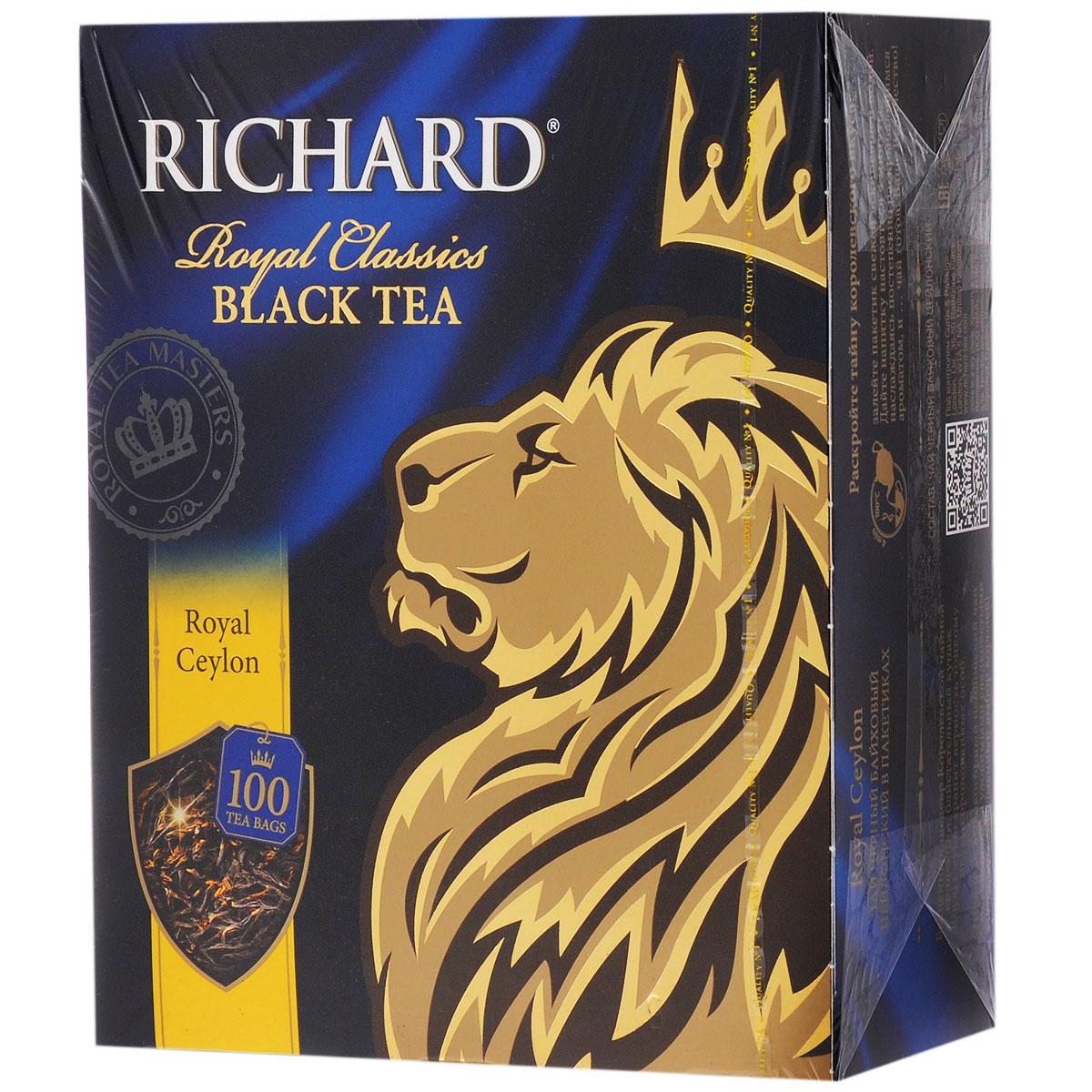 Richard Royal Ceylon черный чай в пакетиках, 100 шт0120710Richard Royal Ceylon - черный цейлонский чай в пакетиках, который подарит вам классический вкус и аромат каждое утро.