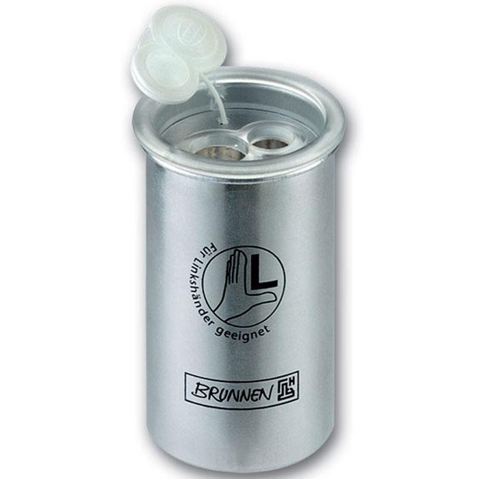 Brunnen Точилка двойная, металлическая, для левшей191610_бирюзовыйТочилка двойная, для левшей, с двумя отверстиями выполнена из металла серого цвета.В точилке имеются два отверстия для карандашей разного диаметра, подходит для различных видов карандашей. Отверстия закрываются удобной пластиковой крышкой.Вместительный контейнер в форме стаканчика для сбора стружки, очень удобен для использования.