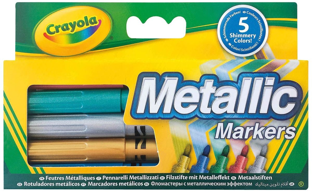 Crayola Набор фломастеров Metallic 5 шт72523WDПревосходный набор фломастеров «Metallic» от Crayola поможет создать отличные шедевры и доставит море удовольствия, ведь каждый ребенок любит рисовать .В комплекте 5 качественных фломастеров различных цветов с эффектом металлик.Благодаря уникальной технологии чернила маркеров долго не высыхают. Они выдерживают даже сильный нажим, не ломаясь и не вдавливаясь. Фломастеры выполнены из экологически чистых материалов и легко смываются как с рук, так и с одежды ребёнка. В наборе бронзовый, серебряный, фиолетовый, голубой и зелёный фломастеры.Создавая новые шедевры на бумаге или холсте, ребёнок развивает свои творческие навыки и фантазию. Рекомендуемый возраст: от 3 лет.