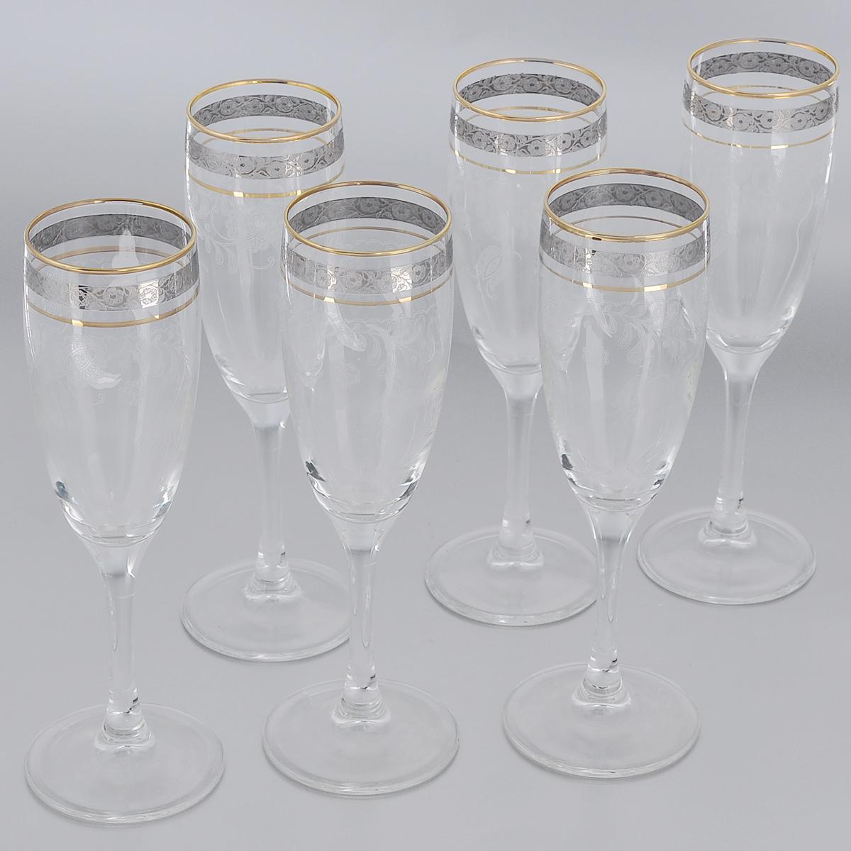 Набор бокалов Гусь-Хрустальный Нежность, 190 мл, 6 штVT-1520(SR)Набор Гусь-Хрустальный Нежность состоит из 6 бокалов на длинных тонких ножках, изготовленных из высококачественного натрий-кальций-силикатного стекла. Изделия оформлены красивым зеркальным покрытием и прозрачным орнаментом. Бокалы предназначены для шампанского или вина. Такой набор прекрасно дополнит праздничный стол и станет желанным подарком в любом доме. Разрешается мыть в посудомоечной машине. Диаметр бокала (по верхнему краю): 5 см. Высота бокала: 18,5 см.