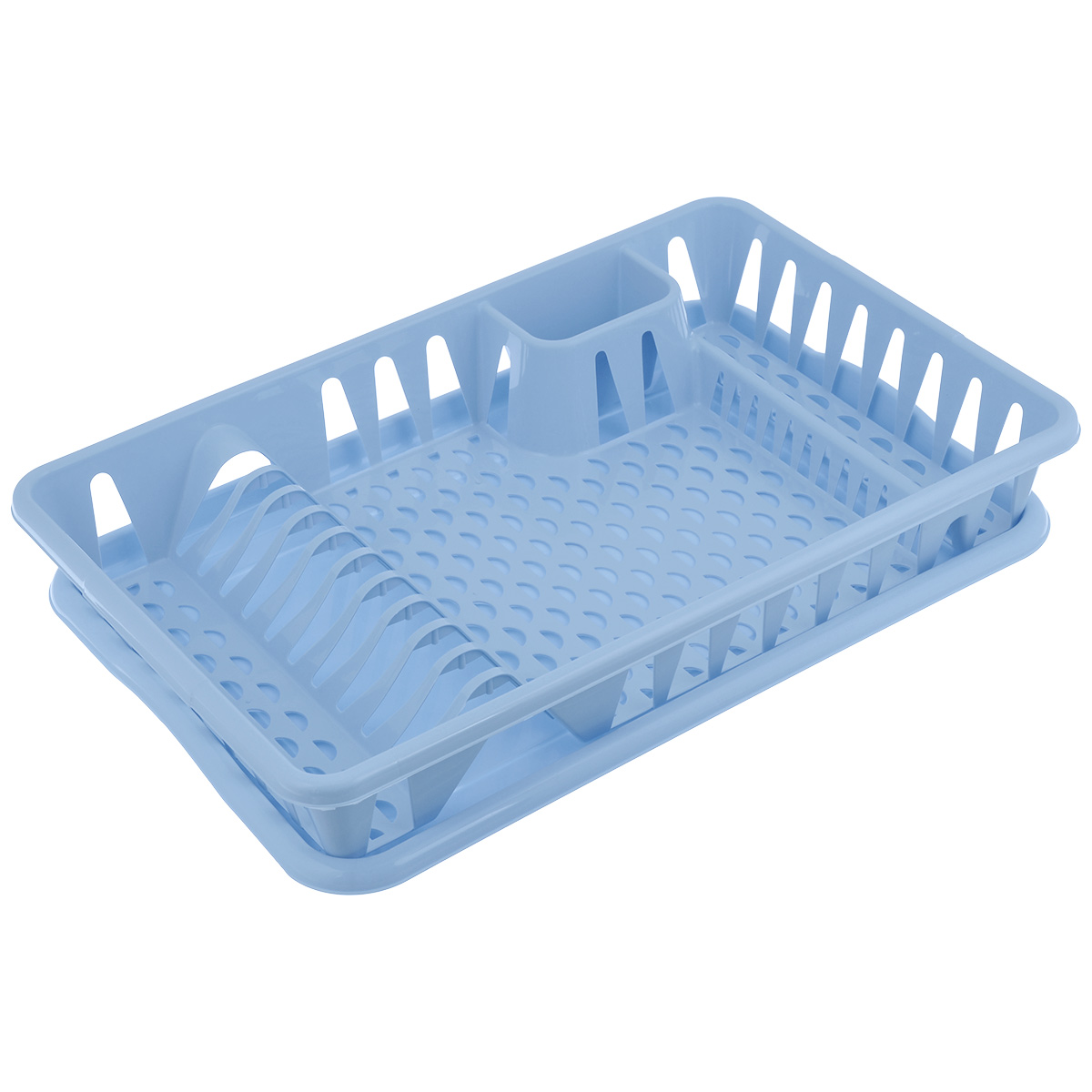 Сушилка для посуды Idea, с поддоном, цвет: голубой, 50 см х 32,5 см х 8 смMT-1951Сушилка Idea, выполненная из прочного пластика, представляет собой решетку с ячейками, в которые помещается посуда: тарелки, кружки, ложки, ножи. Изделие оснащено пластиковым поддоном для стекания воды. Сушилку можно установить в любом удобном месте. На ней можно разместить большое количество предметов. Вместительные размеры и оригинальный дизайн выделяют эту сушку из ряда подобных.Размер сушилки: 46,5 см х 37 см х 9 см. Размер поддона: 48,5см х 32 см х 2,5 см.