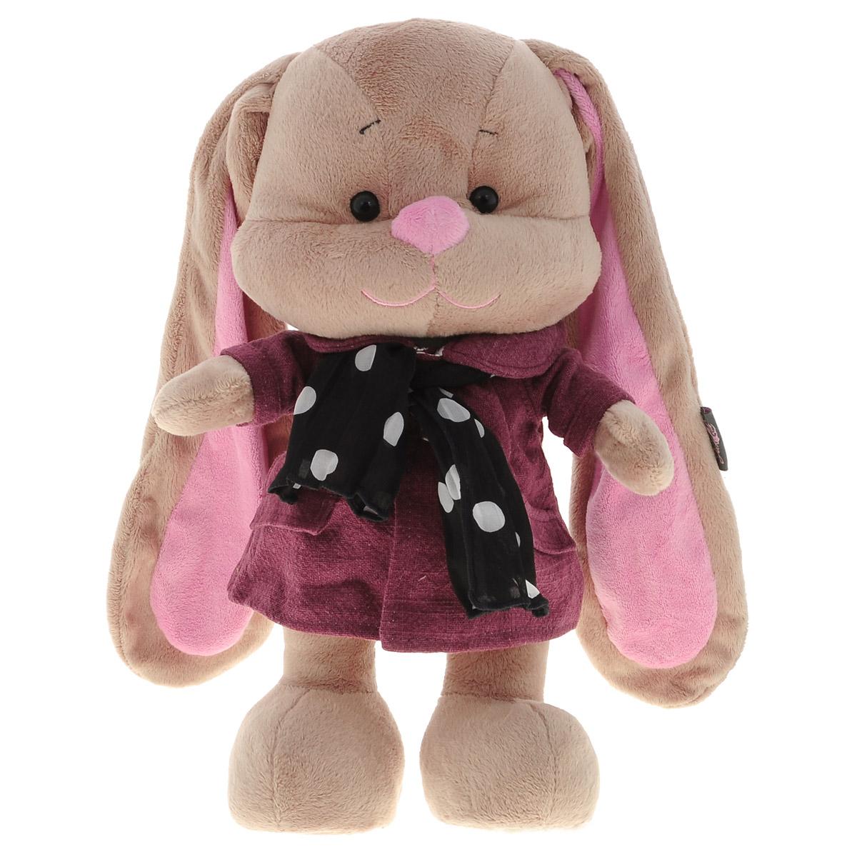 Maxi Toys Мягкая игрушка Зайка Лин, цвет пальто: бордовый, 34 см