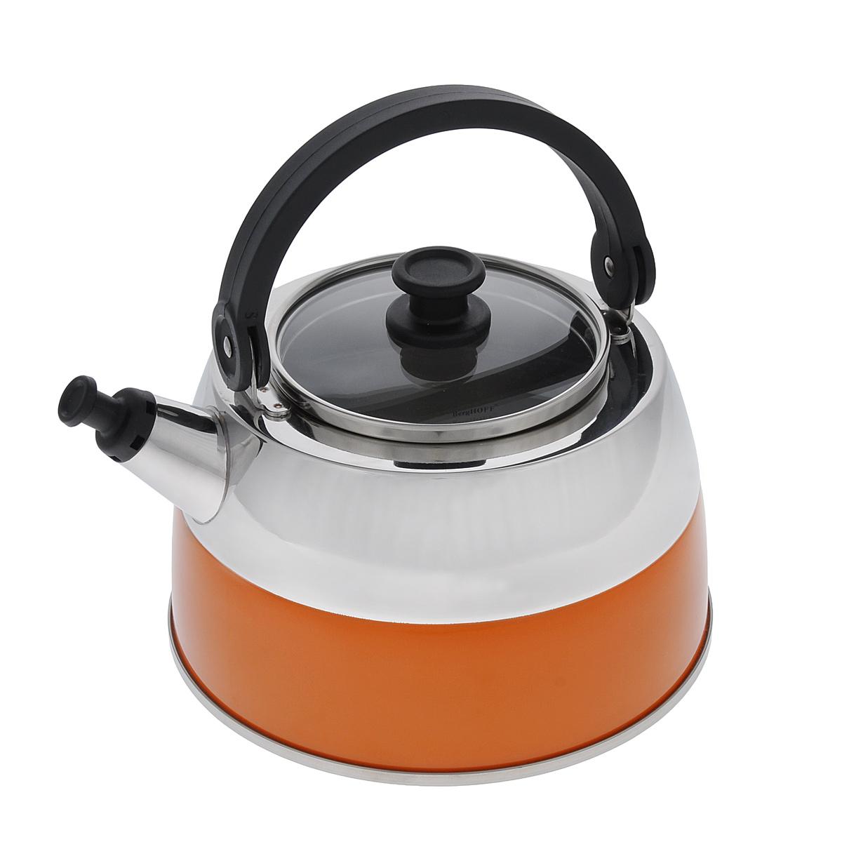 Чайник BergHOFF Virgo Orange, со свистком, 2,5 л68/5/2Чайник BergHOFF Virgo Orange изготовлен из высококачественной нержавеющей стали 18/10, которая обладает бактериостатическими свойствами. Сталь 18/10 - один из наиболее тонких и сбалансированных сплавов, используемых во всем мире, который гарантирует высокую химическую нейтральность к пище, обладает высокими антикоррозионными свойствами. Изделие оснащено стеклянной крышкой с ободом из нержавеющей стали и ручкой из бакелита. Носик чайника имеет насадку-свисток, что позволит вам контролировать процесс подогрева или кипячения воды. Высокоэффективный чайник продуктивно проводит тепло для быстрого закипания.Подходит для всех типов плит, включая индукционные. Рекомендуется мыть вручную.Диаметр чайника (по верхнему краю): 11 см.Высота чайника (с учетом ручки): 21 см.Высота чайника (без учета ручки): 11 см.