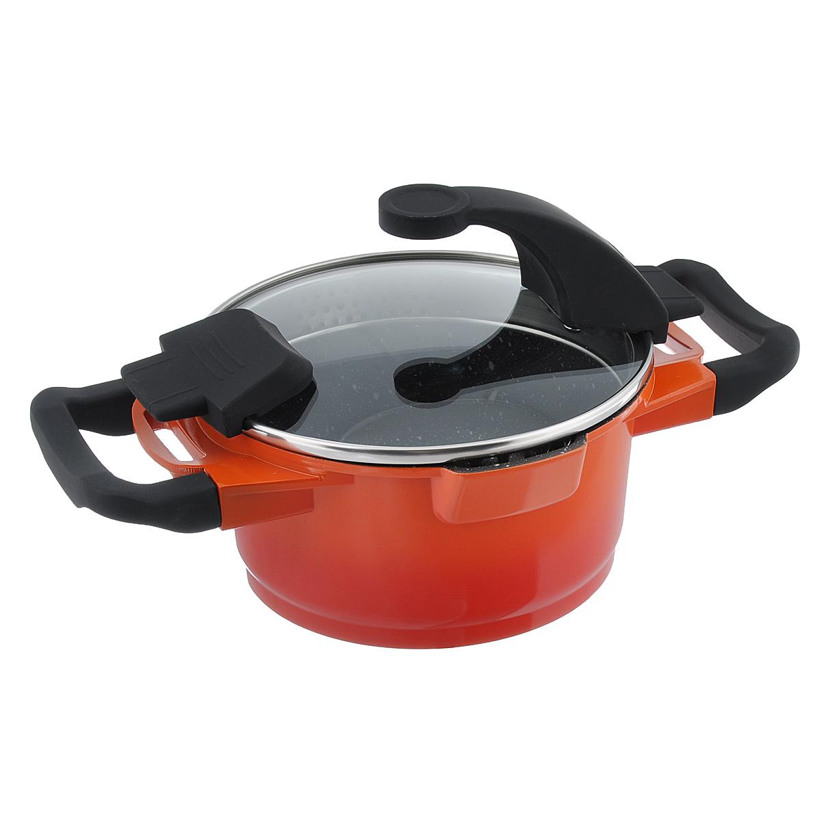 Кастрюля BergHOFF Virgo Orange с крышкой, с антипригарным покрытием, цвет: оранжево-красный, 1,5 л54 009305Кастрюля BergHOFF Virgo Orange изготовлена из литого алюминия, который имеет эффект чугунной посуды. В отличие от чугуна, посуда из алюминия легче по весу и быстро нагревается, что гарантирует сбережение энергии. Внутреннее покрытие - экологически безопасное антипригарное покрытие Ferno Green, которое не содержит ни свинца, ни кадмия. Антипригарные свойства посуды позволяют готовить без жира и подсолнечного масла или с его малым количеством. Ручки выполнены из бакелита с покрытием Soft-touch, они имеют комфортную эргономичную форму и не нагреваются в процессе эксплуатации. Крышка изготовлена из термостойкого стекла, благодаря чему можно наблюдать за ингредиентами в процессе приготовления. Широкий металлический обод со специальными отверстиями разного диаметра позволяет выливать жидкость, не снимая крышку. Подходит для всех типов плит, включая индукционные. Рекомендуется мыть вручную. Диаметр кастрюли (по верхнему краю): 16 см. Ширина кастрюли (с учетом ручек): 28,5 см.Высота стенки: 8,5 см. Толщина стенки: 3 мм. Толщина дна: 5 мм.