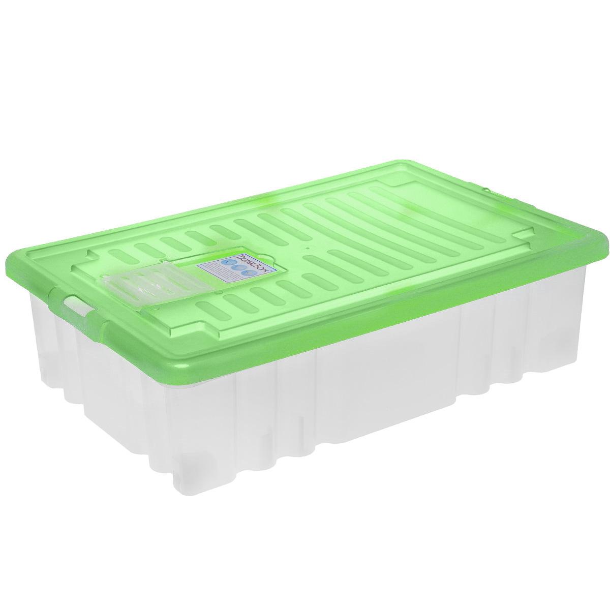 Ящик Darel Box, с крышкой, цвет: прозрачный, салатовый, 36 лES-412Прямоугольный ящик Darel Plastic изготовлен из высокопрочного полипропилена (пластика). Ящик можно использовать в квартире, в автомобиле, на даче, в кладовой. В нем удобно хранить продукты, текстиль, игрушки, различные аксессуары и бытовые предметы. Ящик снабжен цветной крышкой. Специальный клапан предназначен для антимолиевых и дезодорирующих средств. Колесики обеспечивают удобство передвижения, они могут принимать два положения: утопленное - для хранения, и рабочее - для передвижения бокса. Такой ящик пригодится в любом хозяйстве. Он поможет хранить вещи в одном месте, а также защитить их от пыли, грязи и влаги.