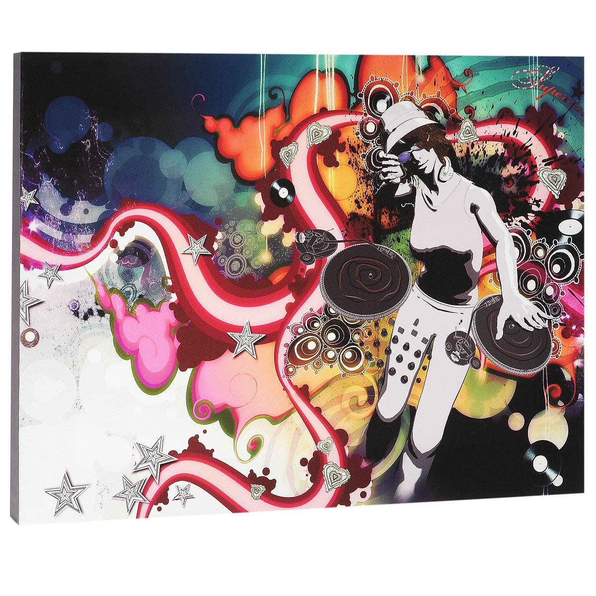 КвикДекор Картина на холсте Диджей, 40 см х 30 см1384Картина на холсте КвикДекор Диджей - это прекрасное украшение для вашей гостиной или спальни. Она привнесет в интерьер яркий акцент и сделает обстановку комфортной и уютной. A.k.A - лондонская студия-бутик, включающая в себя творческую группу художников, которые часто работают в тесном сотрудничестве друг с другом. Их работы были отмечены по всему миру для таких крупных компаний, как Dreamworks, Pepsi, Random House, Ford, Avia, Mazda, Future, TIME, Phillip Morris, Bacardi и многие другие. Студия A.k.A была даже номинирована на Оскар, как независимая студия анимации в Лондоне. Их работы создаются с помощью сочетания фотографий, 3D-моделирования, обработки в Photoshop, традиционного ретуширования, рисунка карандашом, векторной графики и пера и чернил. Этот уникальный и многоплановый стиль делает студию A.k.A выдающейся. Работы художников-дизайнеров студии сразу бросаются в глаза и мало кого оставляют равнодушными. Картина на холсте КвикДекор Диджей не нуждается в рамке или багете - галерейная натяжка холста на подрамники выполнена очень аккуратно, а боковые части картины запечатаны продолжением картинки либо тоновой заливкой. На обратной стороне подрамника есть отверстие, благодаря которому картину можно легко закрепить на стене, и подкорректировать ее положение. Картина на холсте Диджей дизайн-студии A.k.A станет отличным украшением для вашего интерьера!