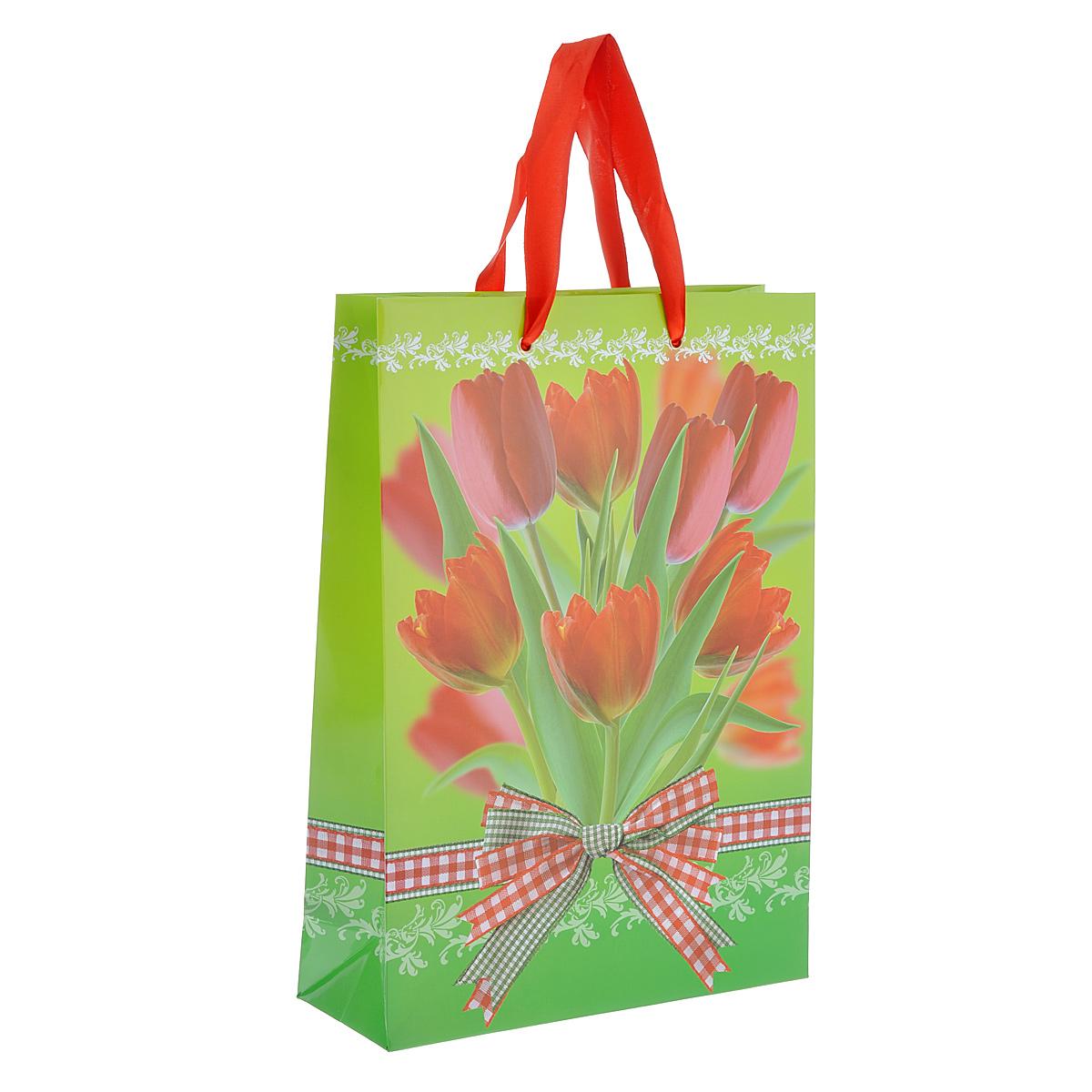 Пакет подарочный Тюльпаны, 25 см х 35 см х 9 смK100Подарочный пакет Тюльпаны выполнен из плотной ламинированной бумаги с красочным цветочным рисунком. Дизайн очень яркий и заряжает весенним настроением. Дно изделия укреплено плотным картоном, который позволяет сохранить форму пакета и исключает возможность деформации под тяжестью подарка. Для удобной переноски на пакете имеются две атласные ручки.Подарок, преподнесенный в оригинальной упаковке, всегда будет самым эффектным и запоминающимся. Окружите близких людей вниманием и заботой, вручив презент в нарядном, праздничном оформлении.