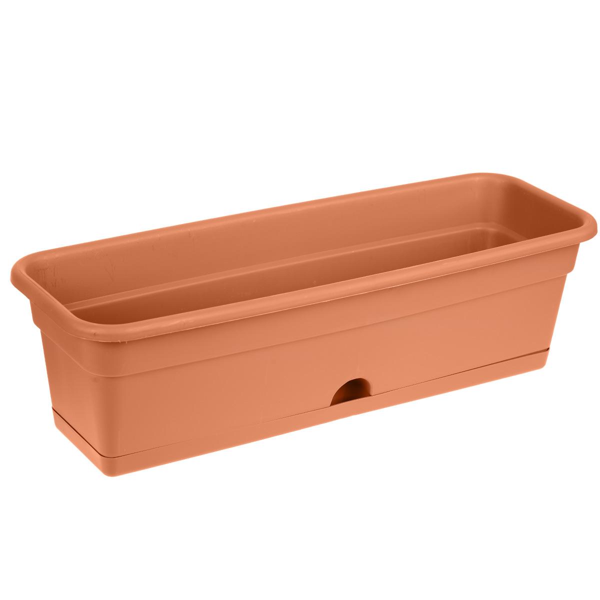 Балконный ящик Darel Plastic, с поддоном, цвет: терракотовый, 60 х 20 х 17 см531-402Балконный ящик Darel Plastic изготовлен из прочного полипропилена (пластика). Снабжен поддоном для стока воды. Система нижнего полива очень удобна для отдельного вида растений - при этом вода наливается не сверху, а внутрь поддона. Изделие прекрасно подходит для выращивания рассады, растений и цветов в домашних условиях.