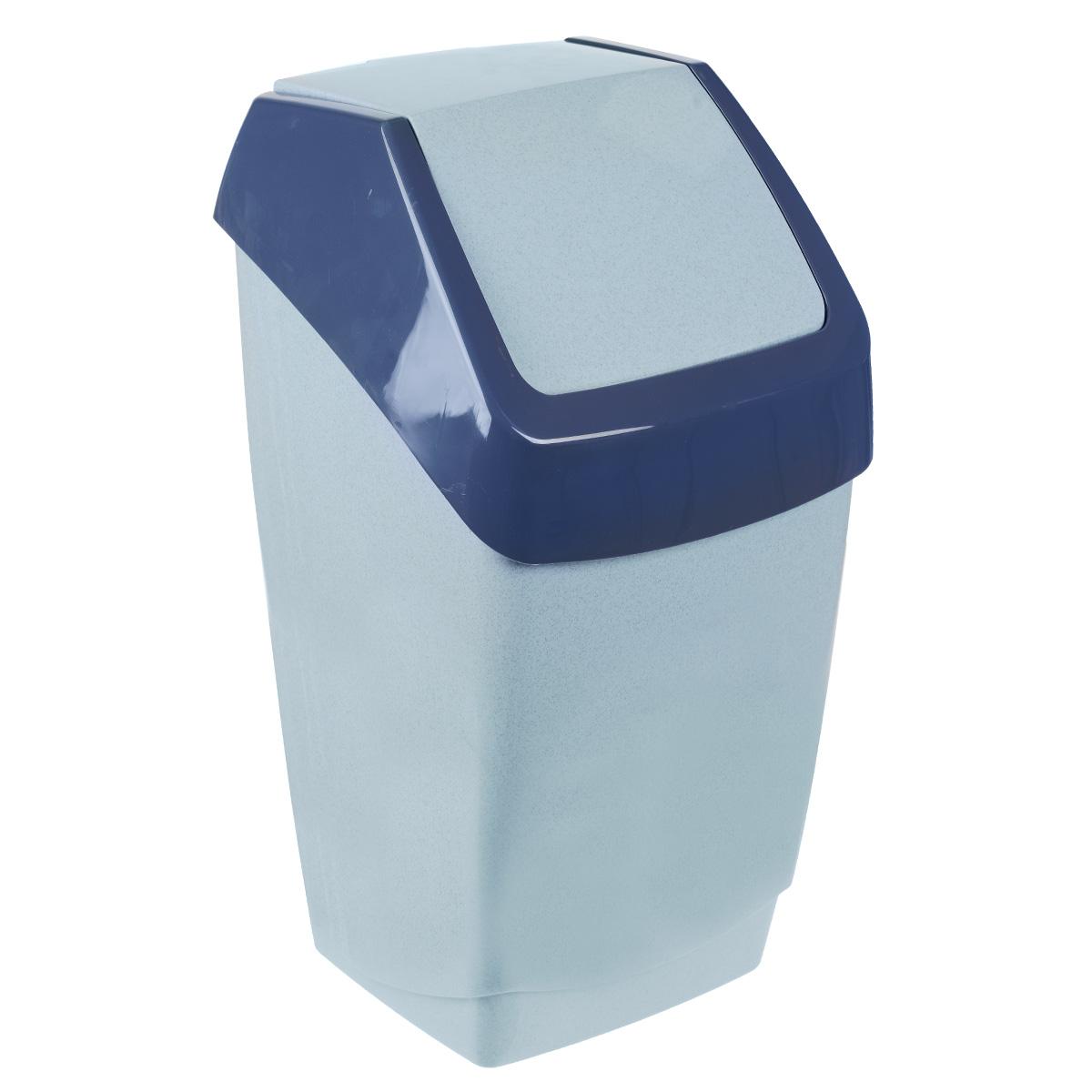 Контейнер для мусора Idea Хапс, цвет: голубой мрамор, 25 л97678Контейнер для мусора Idea Хапс изготовлен из прочного полипропилена (пластика). Контейнер снабжен удобной съемной крышкой с подвижной перегородкой. Благодаря лаконичному дизайну такой контейнер идеально впишется в интерьер и дома, и офиса.