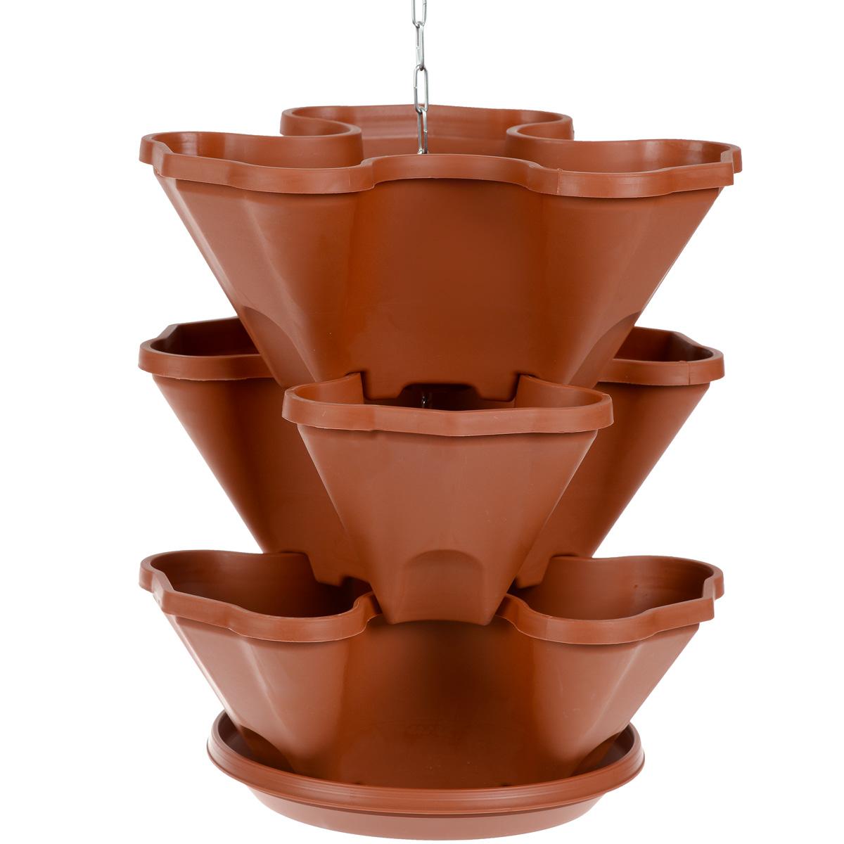Кашпо трехъярусное Darel Plastic Каскад, подвесное, с поддоном, высота 36,5 смKOC_SOL373Трехъярусное кашпо Darel Plastic Каскад предназначено для вертикального озеленения и ампельных растений. Может использоваться в стационарном и подвесном вариантах (на специальной цепочке). Изделие состоит из отдельных пластиковых контейнеров (кашпо) и пристегивающегося поддона. Ярусы расположены с поворотом друг относительно друга, что позволяет растениям цвести и развиваться, не мешая друг другу. Изделие легко хранится и транспортируется - в сложенном виде секции цветника входят друг в друга, благодаря чему он компактно складывается и не занимает много места. В комплекте предусмотрена подвесная металлическая цепочка. Размер одного яруса: 32 см х 31 см. Общая высота кашпо: 36,5 см. Диаметр поддона: 25 см.
