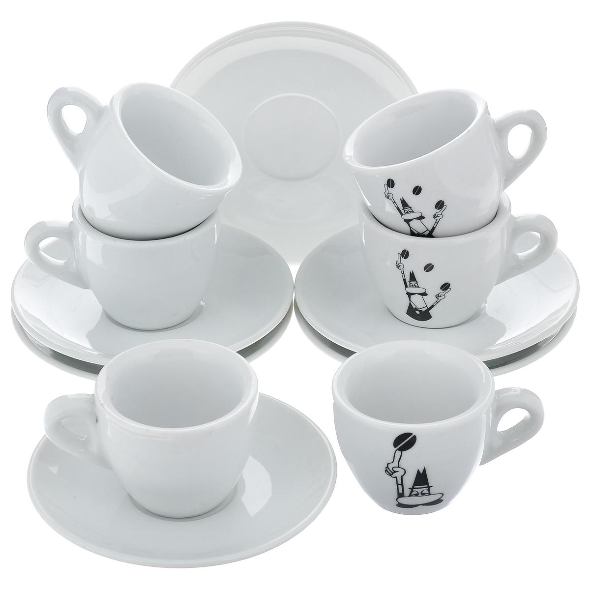 Набор чашек для кофе Bialetti, с блюдцами, цвет: белый, черный, 12 предметовVT-1520(SR)Набор Bialetti состоит из 6 чашек для кофе и 6 блюдец, выполненных из высококачественной керамики. Материал изделий абсолютно безопасен для здоровья. Набор Bialetti оригинального дизайна позволит насладиться вашими любимыми напитками. Прекрасный подарок для друзей и близких. Можно мыть в посудомоечной машине. Объем чашки: 60 мл. Диаметр (по верхнему краю): 6 см. Высота чашки: 5 см.