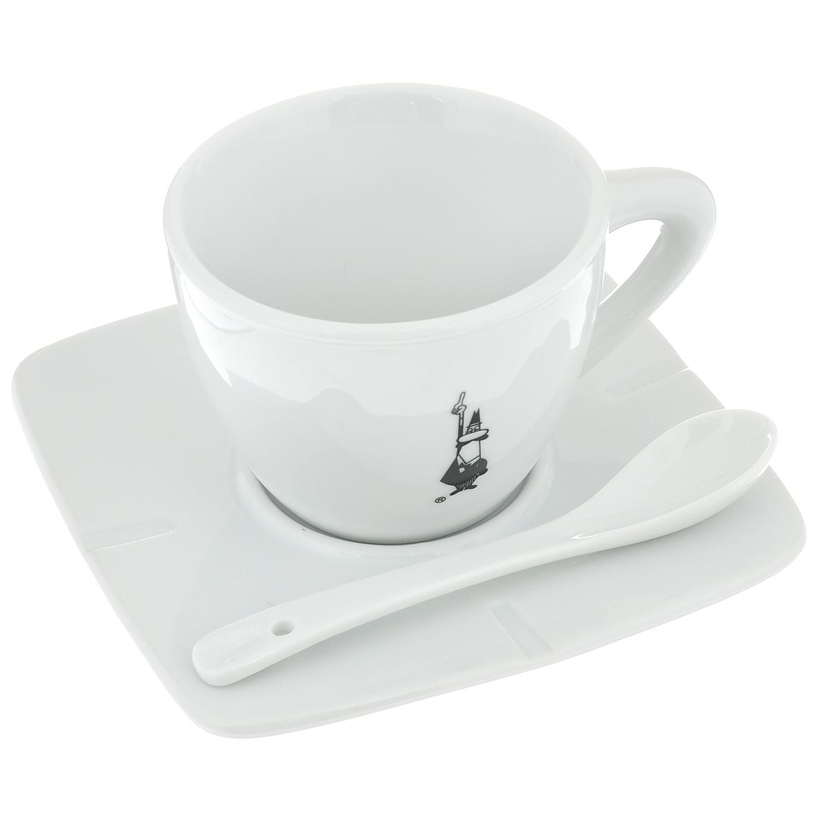 Набор для кофе Bialetti, цвет: белый, черный, 3 предмета. 98920030115510Набор для кофе Bialetti состоит из чашки, блюдца и ложки, изготовленных из фарфора. Набор оригинального дизайна станет изысканным и желанным подарком любителю настоящего кофе. Можно мыть в посудомоечной машине.Объем чашки: 160 мл. Высота чашки: 6,5 см. Диаметр чашки: 8 см. Размер блюдца: 13 см х 13 см. Длина ложки: 12 см. Размер рабочей части ложки: 3,5 см х 2,3 см.