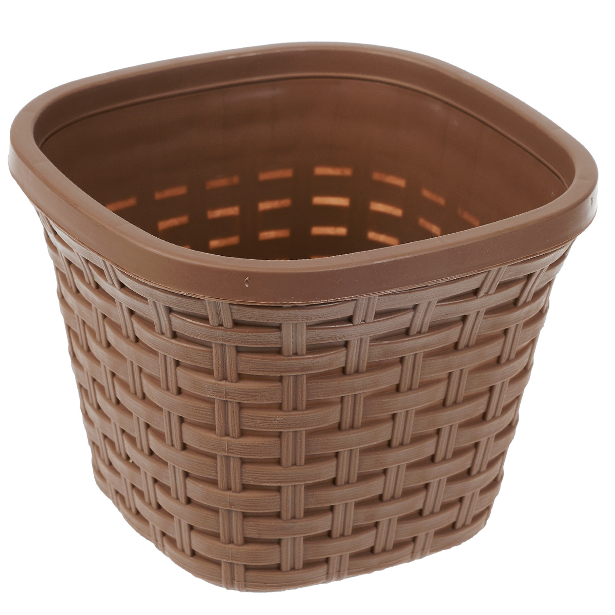 Кашпо Violet Ротанг, с дренажной системой, цвет: какао, 2,6 лZ-0307Кашпо Violet Ротанг изготовлено из высококачественного пластика и оснащено дренажной системой для быстрого отведения избытка воды при поливе. Изделие прекрасно подходит для выращивания растений и цветов в домашних условиях. Лаконичный дизайн впишется в интерьер любого помещения.Объем: 2,6 л.