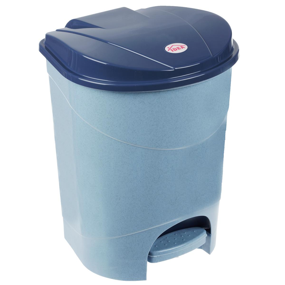 Контейнер для мусора Idea, с педалью, цвет: голубой мрамор, 19 л13296Мусорный контейнер Idea, выполненный из прочного пластика, не боится ударов и долгих лет использования. Изделие оснащено педалью, с помощью которой можно открыть крышку. Закрывается крышка практически бесшумно, плотно прилегает, предотвращая распространение запаха. Внутри пластиковая емкость для мусора, которую при необходимости можно достать из контейнера. Интересный дизайн разнообразит интерьер кухни и сделает его более оригинальным.