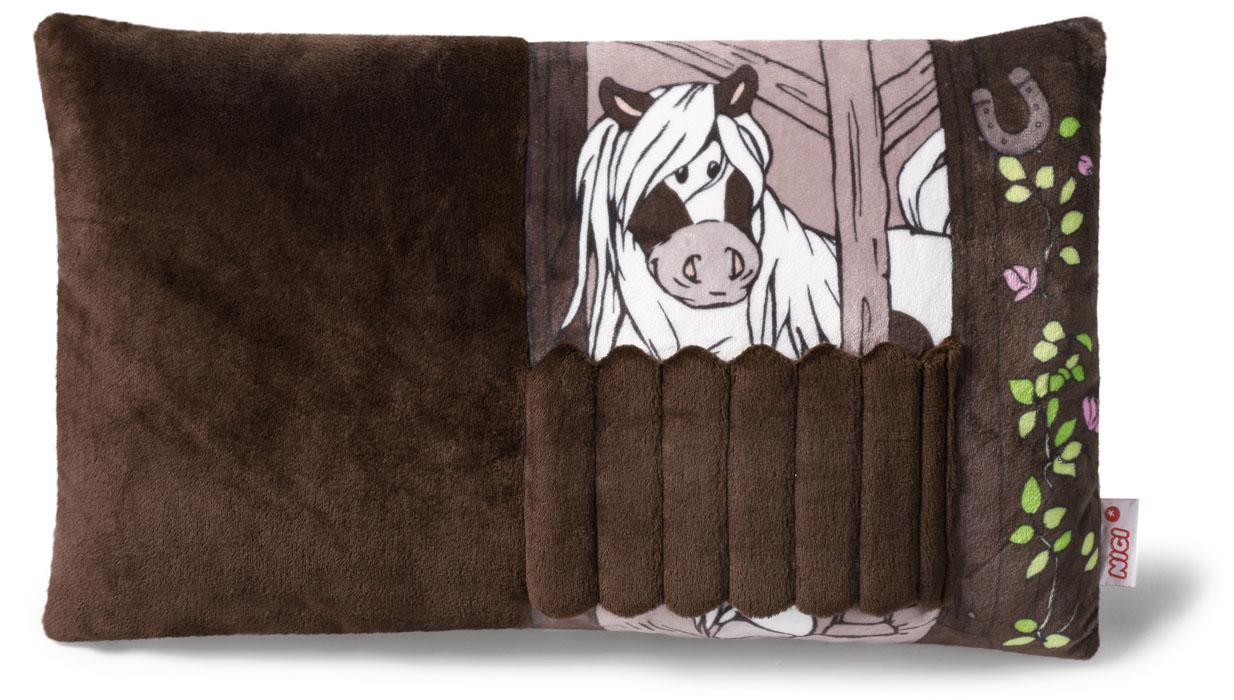 Nici Подушка Пони Пунита 43 х 25 см531-105Мягкая подушка Nici Пони Пунита не оставит равнодушным вашего ребенка.Мягкая и приятная на ощупь подушка прямоугольной формы выполнена из полиэстера с мягкой набивкой и оформлена вышитой аппликацией в виде симпатичного пони по кличке Пунита. Подушка удивительно приятна на ощупь и оснащена липучкой. Необычайно мягкая, она принесет радость и подарит своему обладателю мгновения нежных объятий и приятных воспоминаний.Такая подушка станет отличным аксессуаром для детской комнаты.