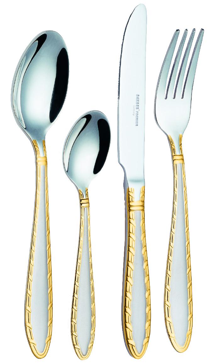 Набор столовых приборов Bekker Premium, 24 предмета. BK-6524115610Набор столовых приборов Bekker Premium состоит из 6 столовых ложек, 6 столовых вилок, 6 столовых ножей и 6 чайных ложек. Изделия выполнены из высококачественной нержавеющей стали. Ручки приборов украшены изысканным рельефом с золотистым покрытием. Такой набор прекрасно дополнит сервировку стола. Благодаря качеству материала и первоклассной обработке, набор прослужит вам долгие годы и сохранит безупречный внешний вид.
