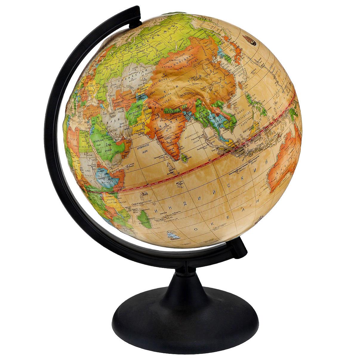 Глобусный мир Глобус с политической картой, Ретро-Александр, рельефный, диаметр 25 смFS-00897Глобус Ретро-Александр в ретро стиле с политической картой мира выполнен в высоком качестве, с четким и ярким изображением. Он даст представление о политическом устройстве мира. На нем отображены линии картографической сетки, показаны границы государств и демаркационные линии, столицы и крупные населенные пункты, линия перемены дат. Глобус легко вращается вокруг своей оси. Подставка черного цвета изготовлена из прочного пластика. Глобус является уменьшенной и практически не искаженной моделью Земли и предназначен для использования в качестве наглядного картографического пособия, а также для украшения интерьера квартир, кабинетов и офисов. Красочность, повышенная наглядность визуального восприятия взаимосвязей, отображенных на глобусе объектов и явлений, в сочетании с простотой выполнения по нему различных измерений делают глобус доступным широкому кругу потребителей для получения разнообразной познавательной, научной и справочной информации о Земле.Масштаб: 1:50000000.