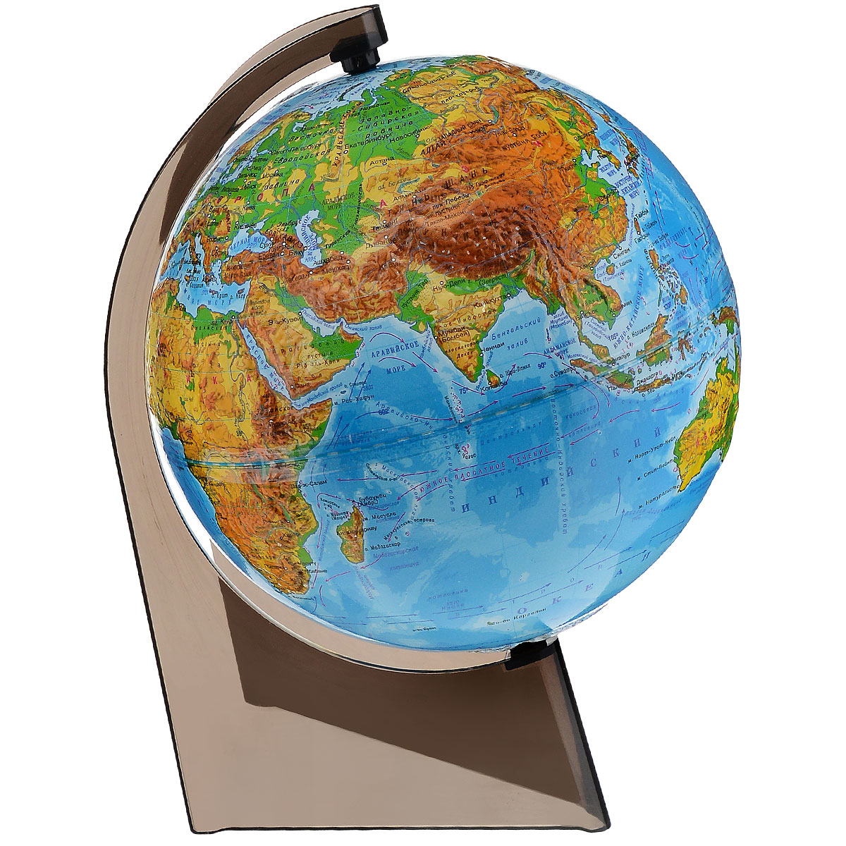 Географический глобус с физической картой мира станет незаменимым атрибутом обучения не только школьника, но и студента. На глобусе отображены линии картографической сетки, гидрографическая сеть, рельеф суши и морского дна, крупнейшие населенные пункты, теплые и холодные течения. Глобус является уменьшенной и практически не искаженной моделью Земли и предназначен для использования в качестве наглядного картографического пособия, а также для украшения интерьера квартир, кабинетов и офисов. Красочность, повышенная наглядность визуального восприятия взаимосвязей, отображенных на глобусе объектов и явлений, в сочетании с простотой выполнения по нему различных измерений делают глобус доступным широкому кругу потребителей для получения разнообразной познавательной, научной и справочной информации о Земле. Глобус на оригинальной пластиковой подставке. Масштаб: 1:60000000.