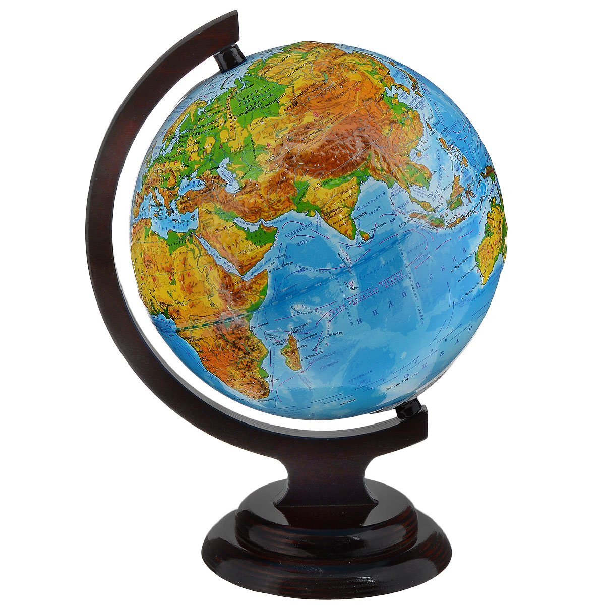 Глобусный мир Глобус с физической картой, рельефный, диаметр 21 см, на деревянной подставке