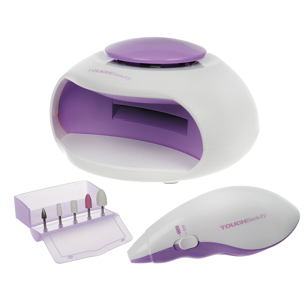 """Touchbeauty Маникюрный набор 2в1 Nail Beauty Kit, цвет: сиреневый. AS-1002PHE 5642 weis-silber + EZS 5663 wessУниверсальный маникюрно-педикюрный набор 2в1 """"Nail Beauty Kit"""" - для заботливого ухода за ногтями. В комплекте: электроприбор для профессионального маникюра, 5 насадок, УФ-электросушка для быстрого высыхания лака, футляр для хранения насадок. Прибор для маникюра используется для ухода за ногтями - формирования, полировки. Электрическая сушилка для ногтей предназначена для финальной сушки лака. Насадки: Насадка для кутикулы - формирует край ногтя и устраняет кутикулу; Насадка для формирования - полирует поверхность или тонкий передний край акрилового или натурального ногтя; Карборундовая насадка - измельчает акриловый ноготь для обеих сторон и по задней кромке; Конусная насадка - для полировки заднего края акрилового ногтя, чтобы получить гладкую поверхность на стыке с натуральным ногтем; Войлочная насадка - полировка поверхности для получения блеска. Прибор работает от 2 батареек типа ААА, Уф-электросушка - от 3 батареек типа ААА (в комплект не входят). Товар сертифицирован."""