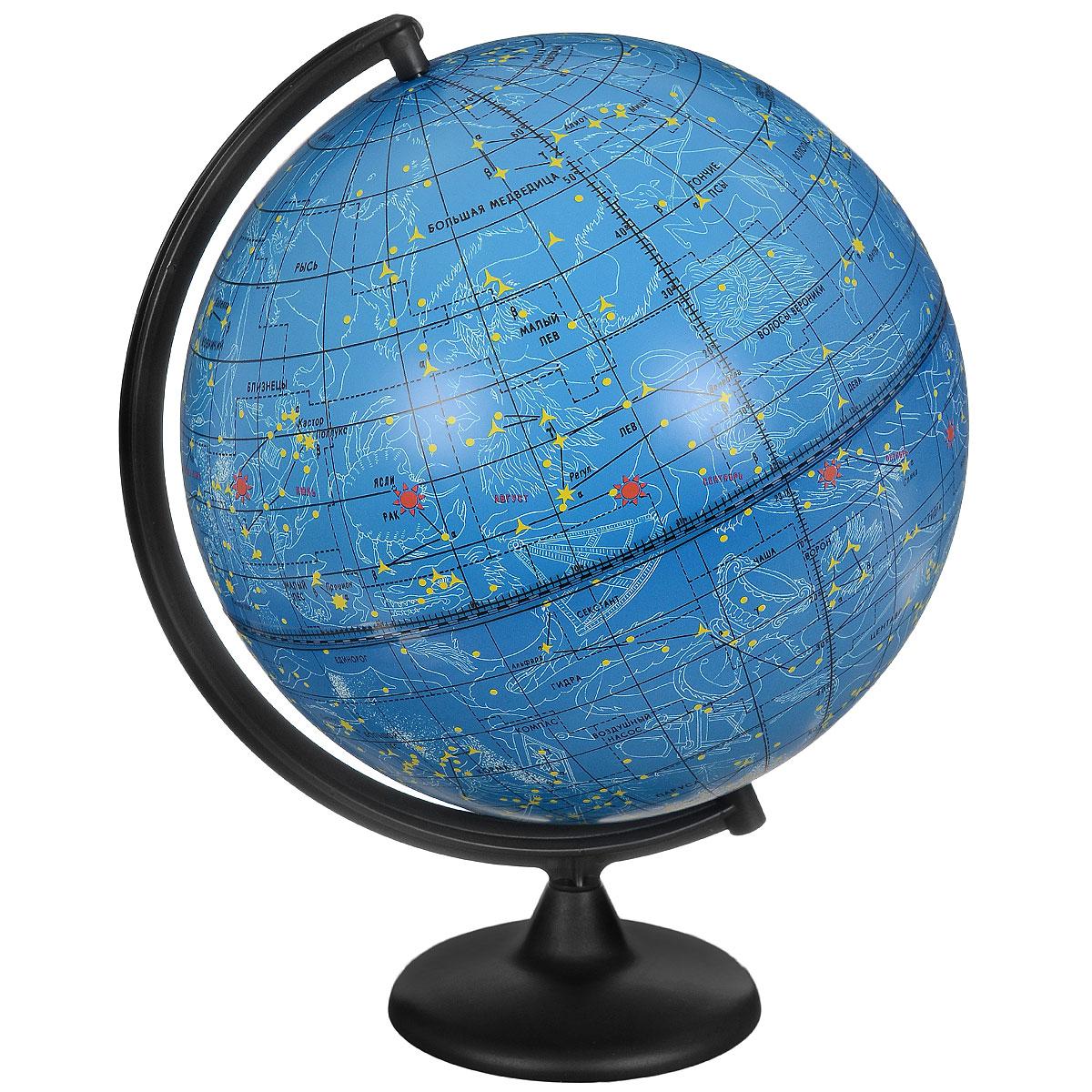 Глобус звездного неба Глобусный мир изготовлен из высококачественного прочного пластика.Данная модель предназначена для ознакомления с космосом, звездами и созвездиями. На нем нанесены те же круги, что и на картах звездного неба, - небесные параллели, меридианы, экватор и эклиптика.Такой глобус станет прекрасным подарком и учебным материалом для дальнейшего изучения астрономии. Помимо этого, глобус обладает приятной цветовой гаммой. Изделие расположено на прочной подставке.  Настольный глобус звездного неба Глобусный мир станет оригинальным украшением рабочего стола или вашего кабинета. Это изысканная вещь для стильного интерьера, которая станет прекрасным подарком для современного преуспевающего человека, следующего последним тенденциям моды и стремящегося к элегантности и комфорту в каждой детали. Масштаб: 1:40000000.