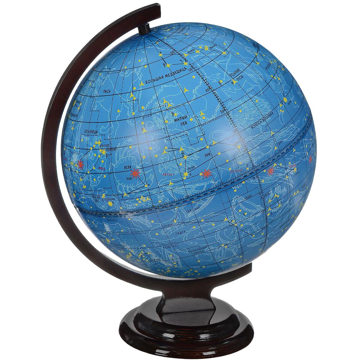 Глобусный мир Глобус звездного неба, диаметр 32 см. 10065FS-00897Глобус звездного неба Глобусный мир, изготовлен из высококачественного прочного пластика.Данная модель предназначена для ознакомления с космосом, звездами и созвездиями. На нем нанесены те же круги, что и на картах звёздного неба, - небесные параллели, меридианы, экватор и эклиптика.Такой глобус станет прекрасным подарком и учебным материалом для дальнейшего изучения астрономии. Помимо этого, глобус обладает приятной цветовой гаммой. Изделие расположено на деревянной подставке.Настольный глобус звездного неба Глобусный мир станет оригинальным украшением рабочего стола или вашего кабинета. Это изысканная вещь для стильного интерьера, которая станет прекрасным подарком для современного преуспевающего человека, следующего последнимтенденциям моды и стремящегося к элегантности и комфорту в каждой детали. Масштаб: 1:40 000 000.