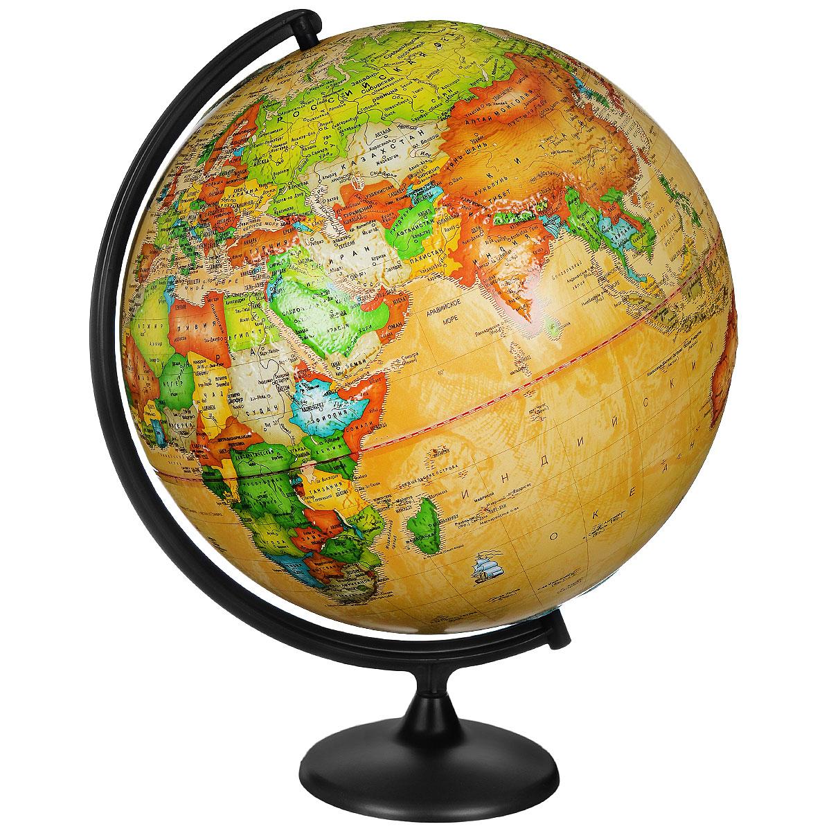 Глобусный мир Глобус с политической картой мира Ретро-Александр рельефный диаметр 42 смFS-00897Глобус с политической картой мира Ретро-Александр изготовлен из высококачественного прочного пластика.Данная модель показывает страны мира, сухопутные и морские границы того или иного государства, расположение городов и населенных пунктов. Изделие расположено на подставке. На нем отображены картографические линии: параллели и меридианы, а также градусы и условные обозначения. На глобусе нанесен рельеф, который отчетливо показывает рельеф местности и горные массивы. Все страны мира раскрашены в разные цвета. Глобус с политической картой мира станет незаменимым атрибутом обучения не только школьника, но и студента. Названия стран на глобусе приведены на русской язык.Глобус с политической картой мира Ретро-Александр станет оригинальным украшением рабочего стола или вашего кабинета. Это изысканная вещь для стильного интерьера, которая будет прекрасным подарком для современного преуспевающего человека, следующего последним тенденциям моды и стремящегося к элегантности и комфорту в каждой детали.