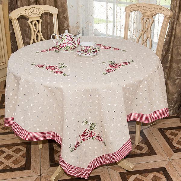 Скатерть Schaefer, квадратная, цвет: бежевый, красный, 150 х 150 см 07-416VT-1520(SR)Квадратная скатерть Schaefer, выполненная из полиэстера с добавлением льна (80% полиэстер, 20% лен), станет изысканным украшением стола. Изделие оформлено изящным цветочным принтом, клеткой по краю и вышивкой в виде чайника и чашечек. За текстилем из полиэстера очень легко ухаживать: он не мнется, не садится и быстро сохнет, легко стирается, более долговечен, чем текстиль из натуральных волокон.Использование такой скатерти сделает застолье торжественным, поднимет настроение гостей и приятно удивит их вашим изысканным вкусом. Также вы можете использовать эту скатерть для повседневной трапезы, превратив каждый прием пищи в волшебный праздник и веселье. Это текстильное изделие станет изысканным украшением вашего дома!