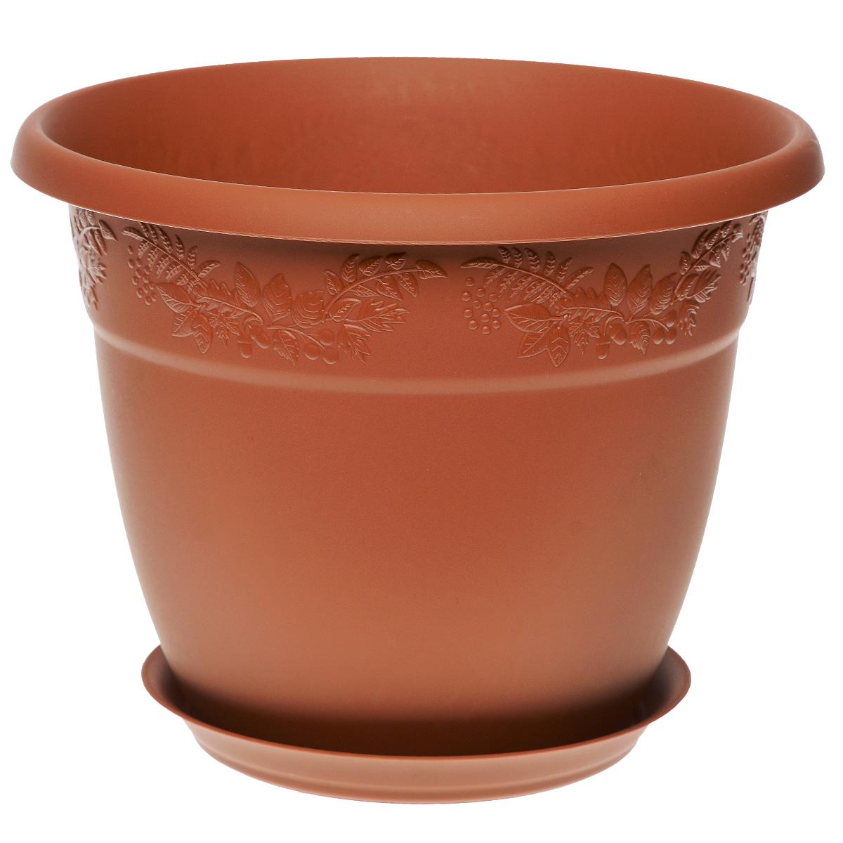 Кашпо Idea Рябина, с поддоном, цвет: терракотовый, 1,4 л1671695Кашпо Idea Рябина изготовлено из высококачественного полипропилена (пластика). Специальный поддон предназначен для стока воды. Изделие прекрасно подходит для выращивания растений и цветов в домашних условиях. Лаконичный дизайн впишется в интерьер любого помещения. Диаметр поддона: 11 см. Объем кашпо: 1,4 л.Диаметр кашпо по верхнему краю: 16 см.Высота кашпо: 12,5 см.