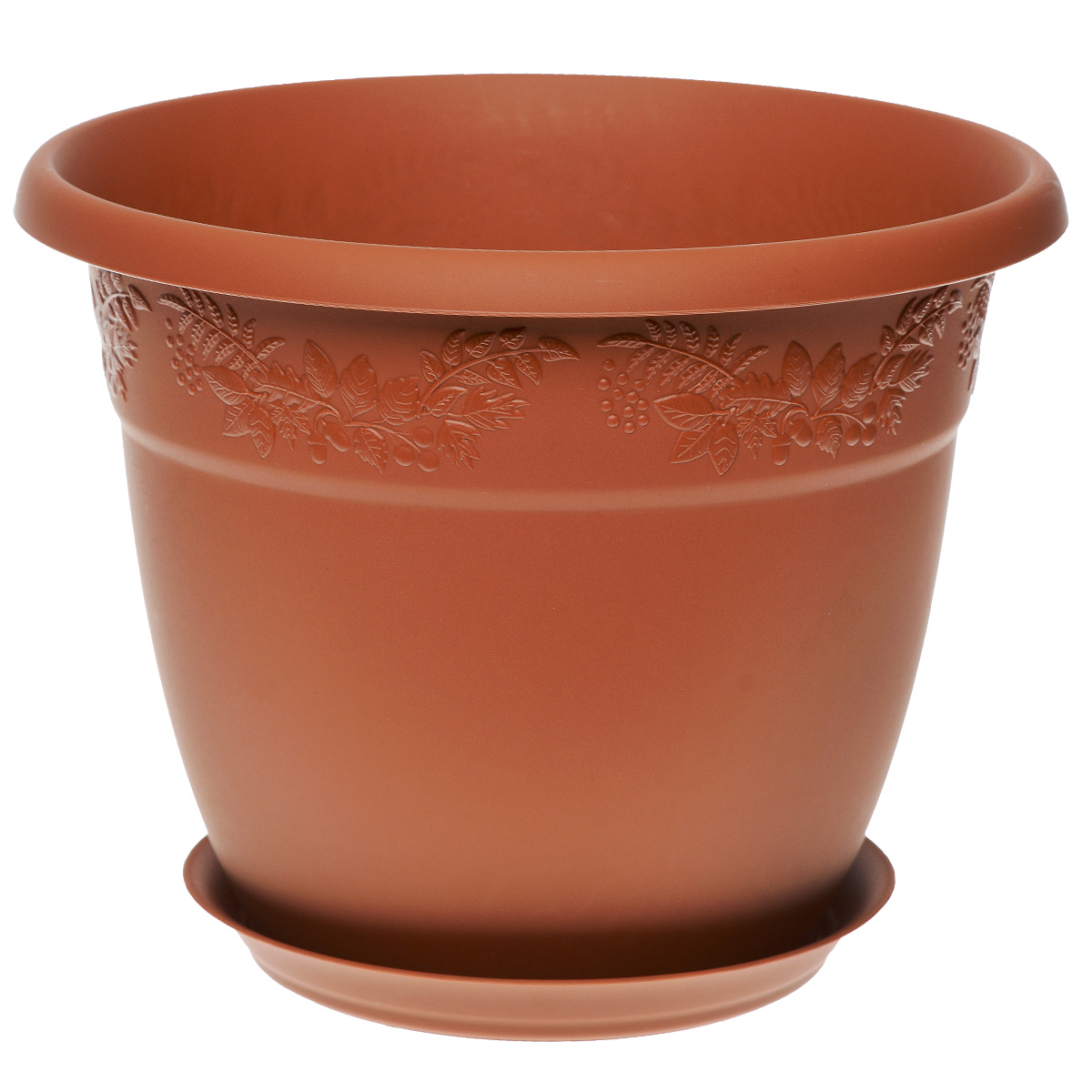 Кашпо Idea Рябина, с поддоном, цвет: терракотовый, 2,3 л1671695Кашпо Idea Рябина изготовлено из высококачественного полипропилена (пластика). Специальный поддон предназначен для стока воды. Изделие прекрасно подходит для выращивания растений и цветов в домашних условиях. Лаконичный дизайн впишется в интерьер любого помещения. Диаметр поддона: 13,5 см. Объем кашпо: 2,3 л.Диаметр кашпо по верхнему краю: 18,5 см.Высота кашпо: 15 см.