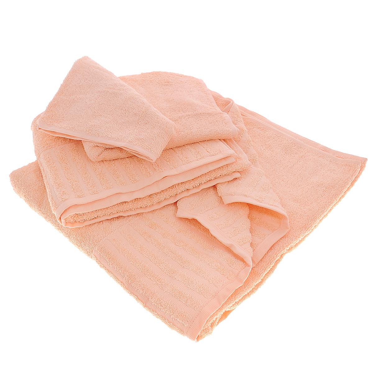 Набор махровых полотенец Bonita, цвет: персиковый, 3 штст450-2нсНабор Bonita состоит из трех полотенец разного размера, выполненных из натурального хлопка. Такие полотенца отлично впитывают влагу, быстро сохнут, сохраняют яркость цвета и не теряют формы даже после многократных стирок. Полотенца очень практичны и неприхотливы в уходе. Размер полотенец: 40 см х 70 см; 50 см х 90 см; 70 см х 140 см.