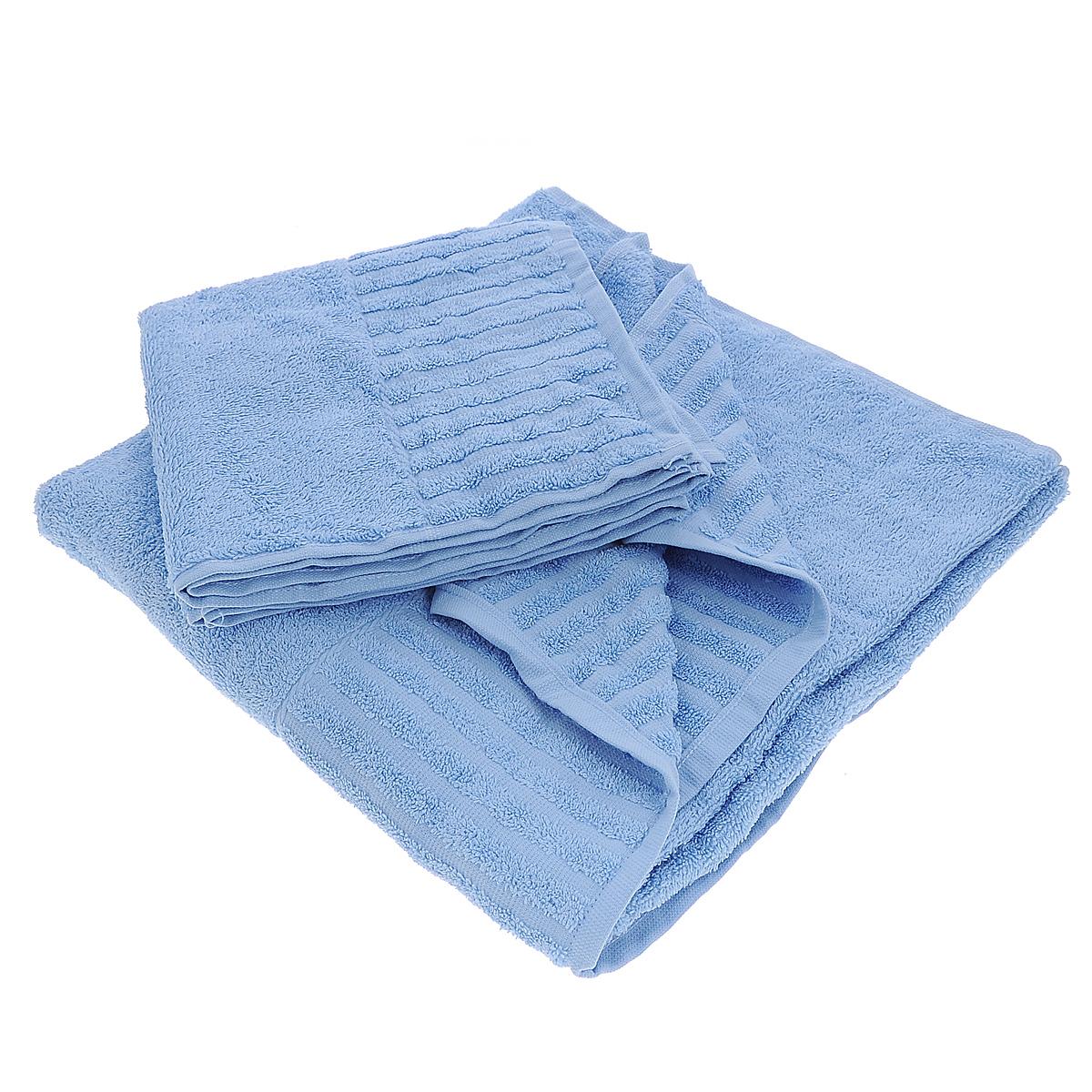 Набор махровых полотенец Bonita, цвет: голубой, 2 шт10503Набор Bonita состоит из двух полотенец разного размера, выполненных из натурального хлопка. Такие полотенца отлично впитывают влагу, быстро сохнут, сохраняют яркость цвета и не теряют формы даже после многократных стирок. Полотенца очень практичны и неприхотливы в уходе. Размер полотенец: 50 см х 90 см; 70 см х 140 см.