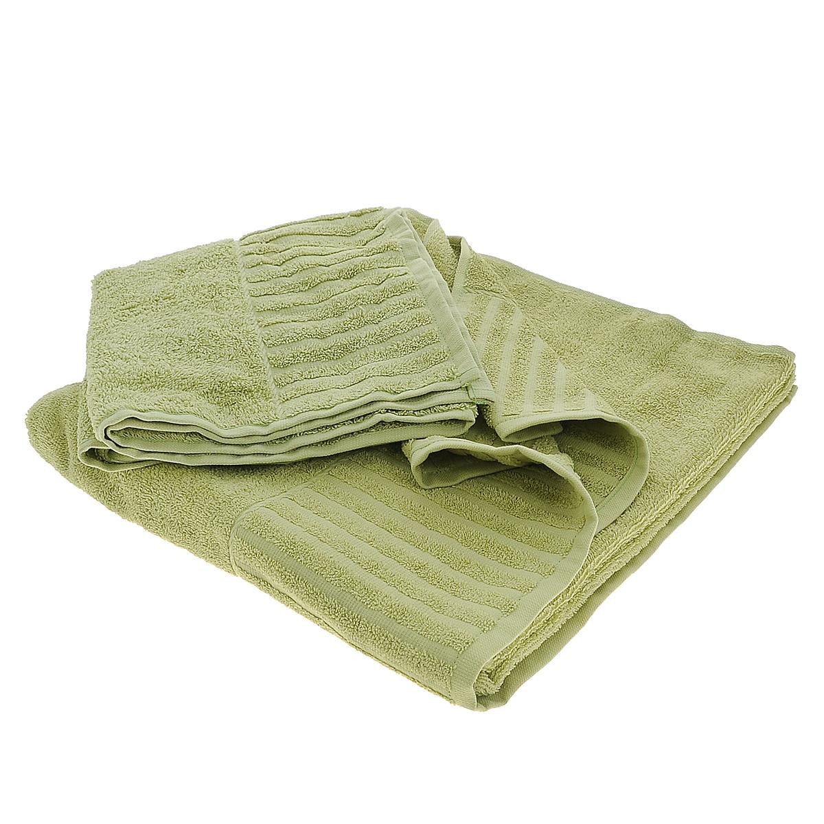Набор махровых полотенец Bonita, цвет: оливковый, 2 шт68/5/1Набор Bonita состоит из двух полотенец разного размера, выполненных из натурального хлопка. Такие полотенца отлично впитывают влагу, быстро сохнут, сохраняют яркость цвета и не теряют формы даже после многократных стирок. Полотенца очень практичны и неприхотливы в уходе. Размер полотенец: 50 см х 90 см; 70 см х 140 см.
