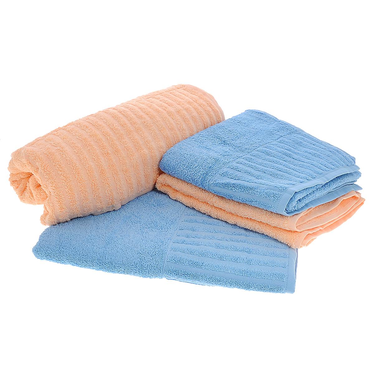 Набор полотенец Bonita, цвет: голубой, персиковый, 4 шт391602Набор Bonita состоит из 2 комплектов по 2 полотенца разных размеров и цветов, выполненных из натурального хлопка. Такие полотенца отлично впитывают влагу, быстро сохнут, сохраняют яркость цвета и не теряют формы даже после многократных стирок. Полотенца очень практичны и неприхотливы в уходе. Размер полотенец: 50 х 90 см; 70 х 140 см.