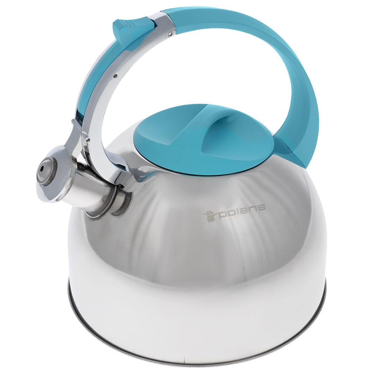Чайник Polaris Sound со свистком, цвет: стальной, голубой, 3 лFS-91909Чайник Polaris Sound изготовлен из высококачественной нержавеющей стали 18/10. Съемная крышка позволяет легко наполнить чайник водой и обеспечить доступ для мытья. Чайник оповещает о вскипании мелодичным свистом. Клапан на носике открывается нажатием кнопки на ручке. Эргономичная ручка выполнена из бакелита с покрытием Soft touch, не нагревается и не скользит в руке.Зеркальная полировка придает посуде эстетичный вид.Подходит для всех типов плит, в том числе для индукционных.Высота стенок чайника: 14 см.Высота чайника (с учетом ручки): 24,5 см.