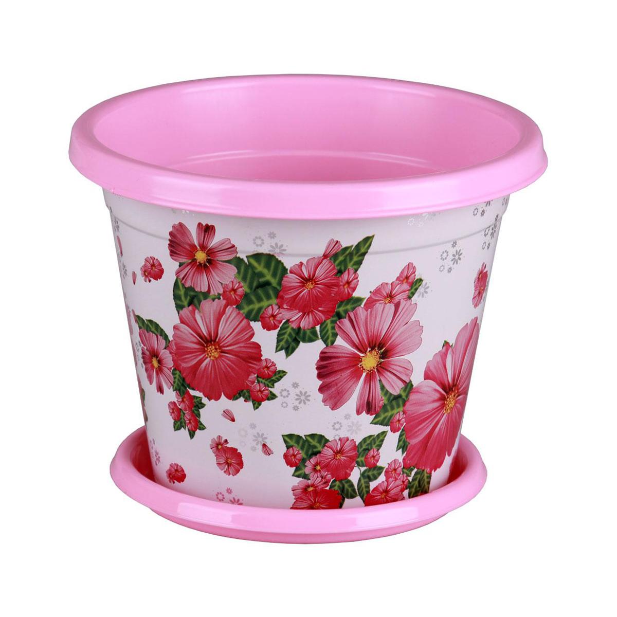 Горшок-кашпо Альтернатива Космея, с поддоном, цвет: розовый, белый, 5,5 л212-4Горшок-кашпо Альтернатива Космея изготовлен из высококачественного пластика и подходит для выращивания растений и цветов в домашних условиях. Такие изделия часто становятся последним штрихом, который совершенно изменяет интерьер помещения или ландшафтный дизайн сада. Благодаря такому горшку-кашпо вы сможете украсить вашу комнату, офис, сад и другие места. Изделие оснащено специальным поддоном и декорировано ярким изображением цветов.Объем горшка: 5,5 л. Диаметр горшка (по верхнему краю): 25 см. Высота горшка: 21 см. Диаметр поддона: 19 см.