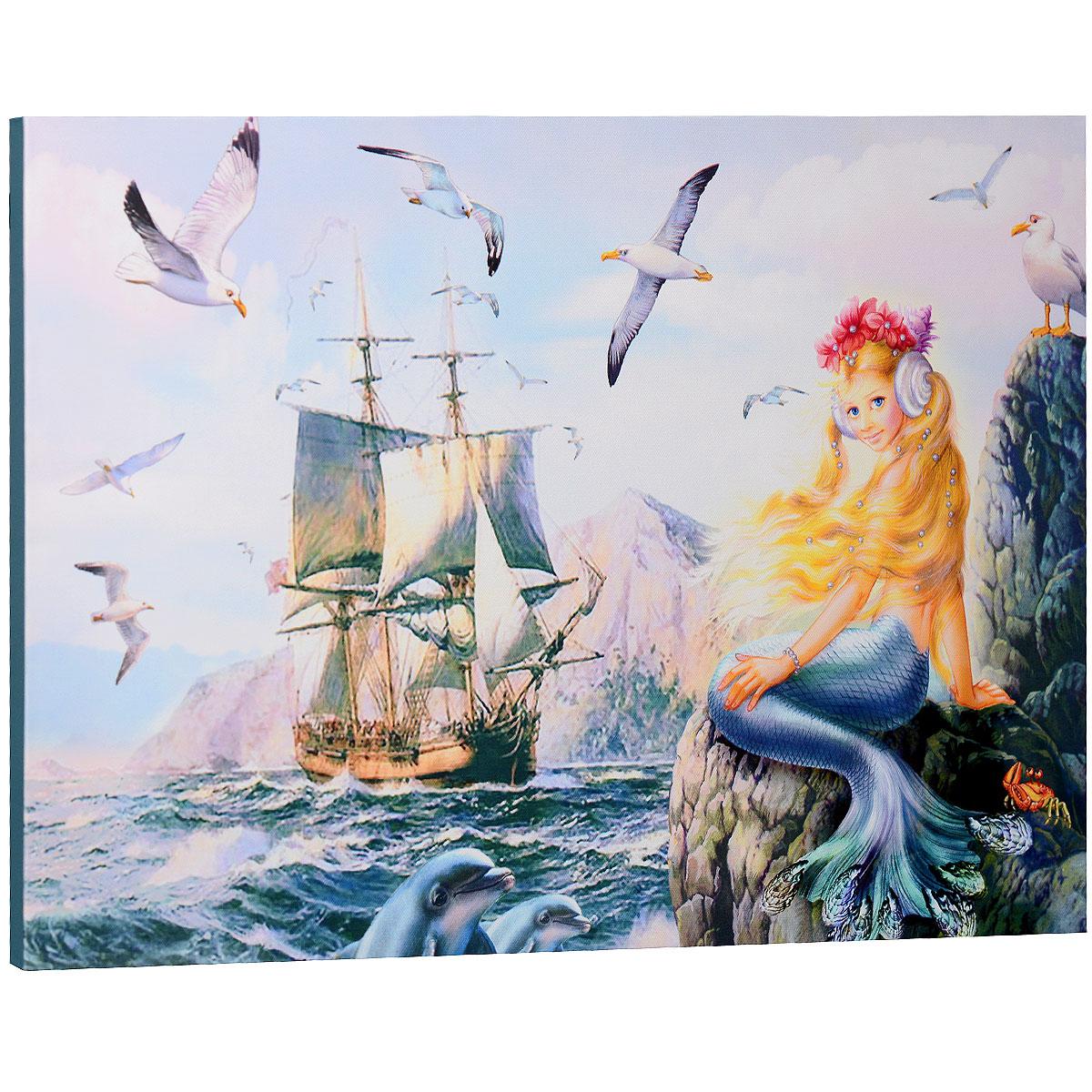 КвикДекор Картина на холсте  Морская принцесса , 60 см х 40 см -  Детская комната