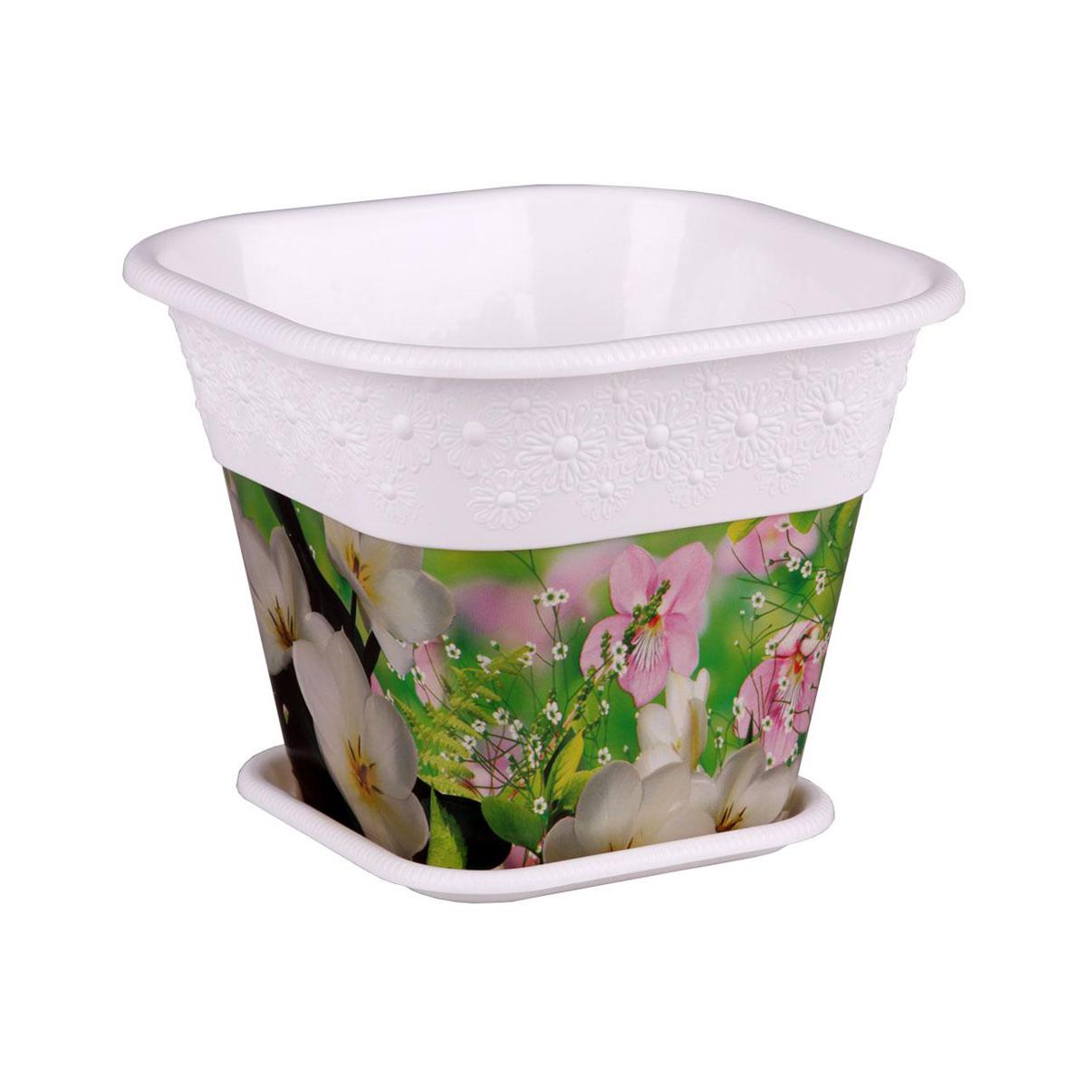 Кашпо Альтернатива Весенняя пора, с поддоном, цвет: белый, 1,5 лKOC_SOL249_G4Квадратное кашпо Альтернатива Весенняя пора изготовлено из высококачественного пластика и подходит для выращивания растений и цветов в домашних условиях. Такие изделия часто становятся последним штрихом, который совершенно изменяет интерьер помещения или ландшафтный дизайн сада. Благодаря такому кашпо вы сможете украсить вашу комнату, офис, сад и другие места. Изделие оснащено специальным поддоном и декорировано ярким изображением цветов.Объем кашпо: 1,5 л. Размер кашпо (по верхнему краю): 16 см х 16 см. Высота кашпо: 13 см. Размер поддона: 11,5 см х 11,5 см.