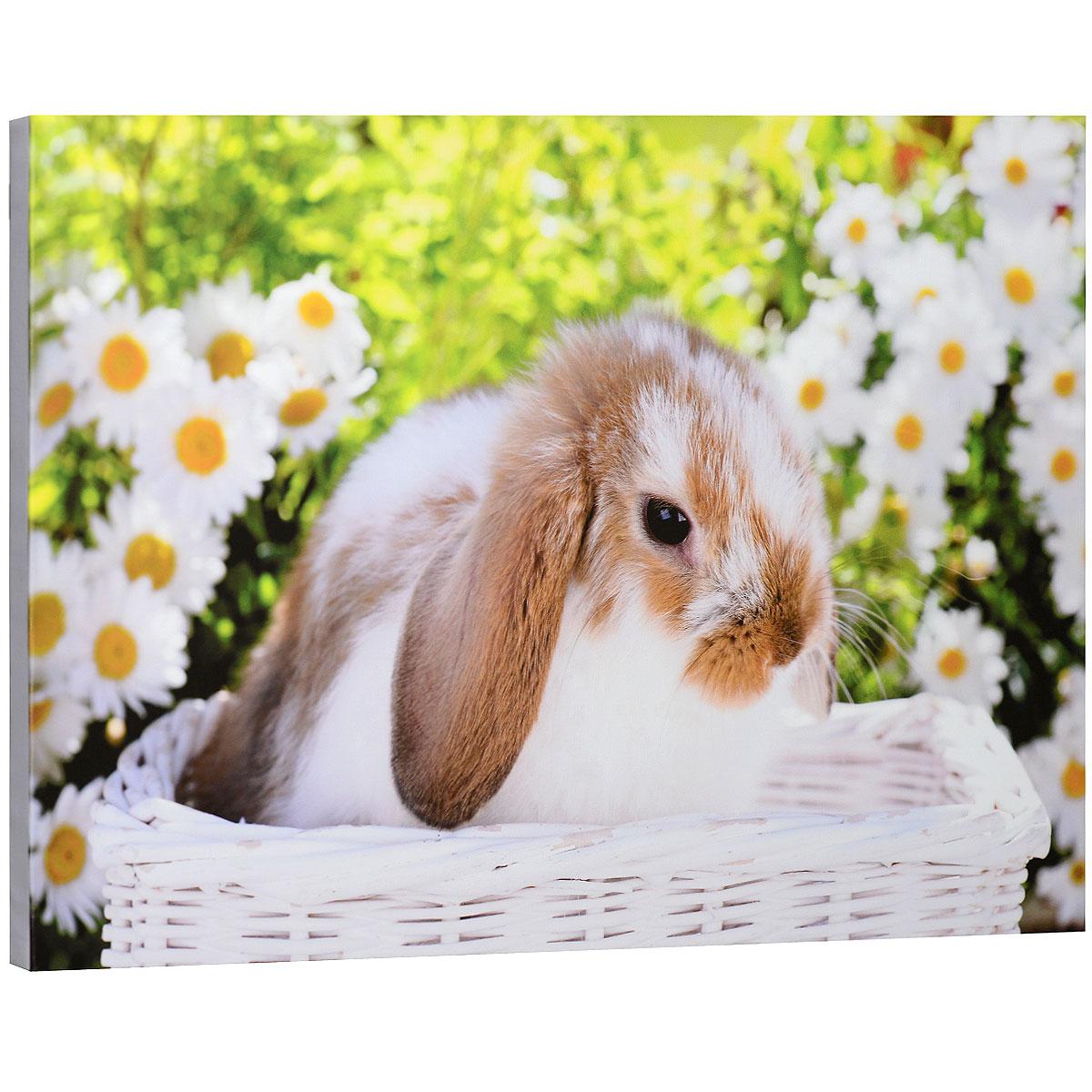 КвикДекор Картина на холсте  Кролик в белой корзинке , 60 см х 40 см -  Детская комната