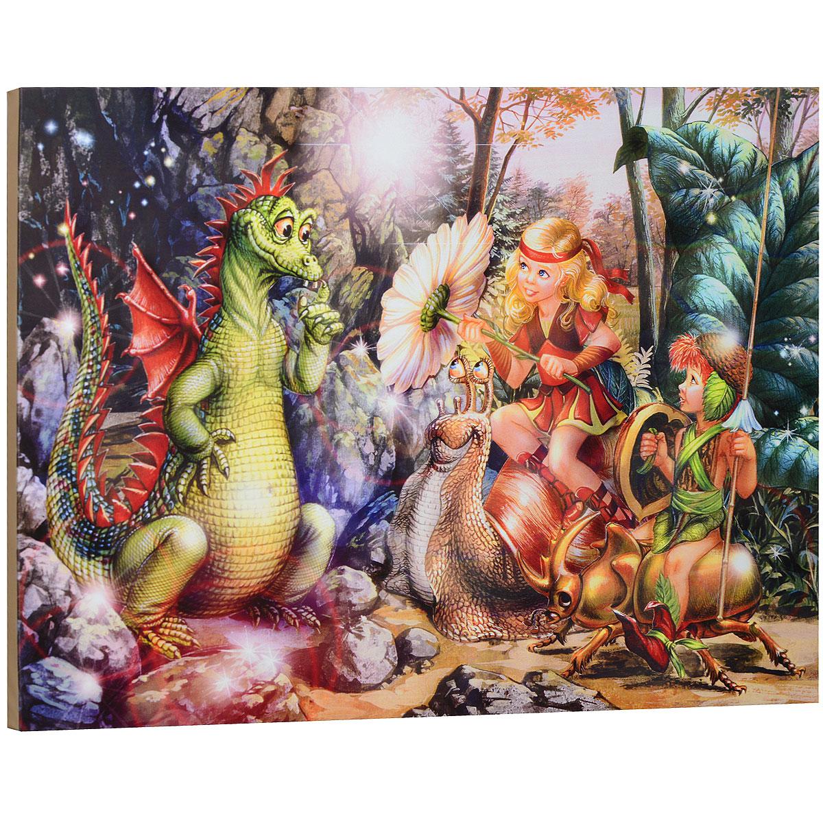 """Картина на холсте КвикДекор """"Маленький дракон"""" автора Зорина Балдеску дополнит обстановку интерьера яркими красками и необычным оформлением. Изделие представляет собой картину с латексной печатью на натуральном хлопчатобумажном холсте. Галерейная натяжка холста на подрамники выполнена очень аккуратно, а боковые части картины запечатаны тоновой заливкой. Обратная сторона подрамника содержит отверстие, благодаря которому картину можно легко закрепить на стене и подкорректировать ее положение. Автор картины специализируется на создании восхитительных сказочных образов - русалок, принцесс, фей, единорогов и многих других. Сказки, иллюстрированные Зориной, - особый, волшебный и очаровательный мир, подаренный нам художницей посредством ее искусства и неисчерпаемой фантазии. Картина """"Маленький дракон"""" отлично подойдет к интерьеру не только детской комнаты, но и гостиной. Картина поставляется в стрейч-пленке с защитными картонными уголками, упакована в гофрокоробку..."""
