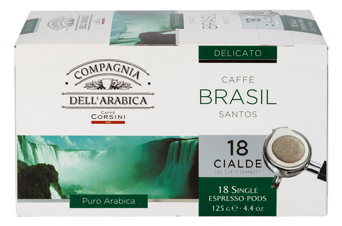 Compagnia DellArabica Brasil Santos кофе в чалдах, 18 шт0120710Compagnia DellArabica Brasil Santos - один из самых популярных сортов 100% арабики в мире. Теплота молочного шоколада, оживленная цитрусовыми акцентами тонко сочетается с линией свежести южно-американских цветущих садов. Для этого напитка характерна низкая кислотность и идеальная структура. Для приготовления в чалдовых кофемашинах.