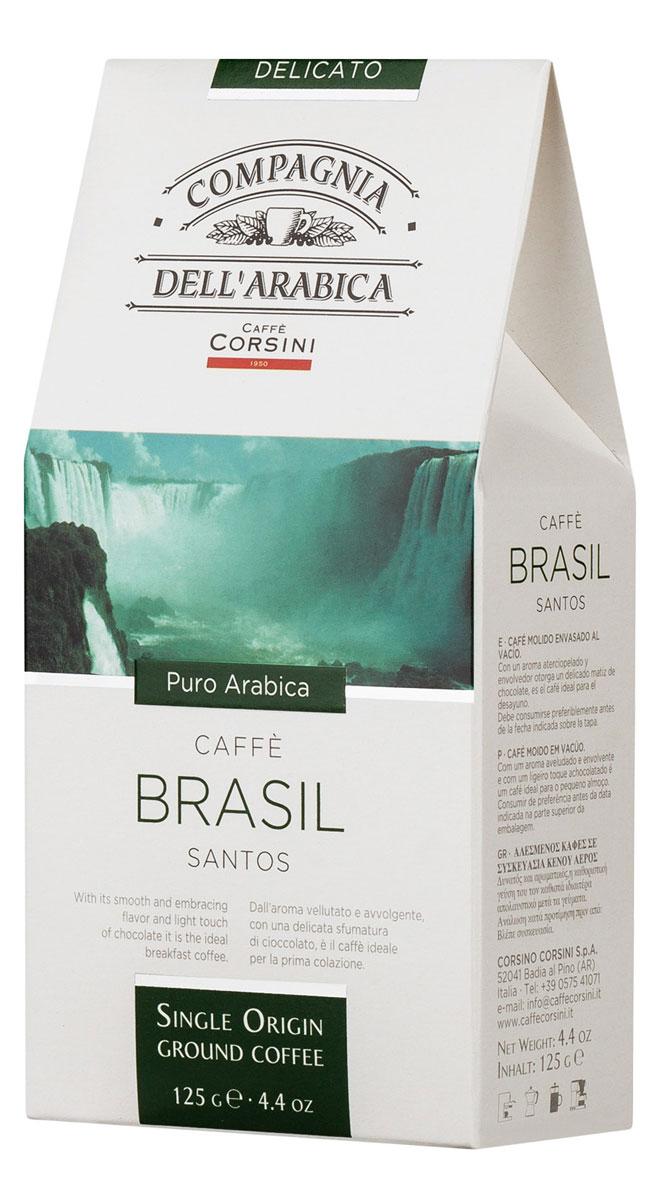 Compagnia DellArabica Brasil Santos молотый кофе, 125 г (вакуумная упаковка)0120710Compagnia DellArabica Brasil Santos - один из самых популярных сортов 100% арабики в мире. Теплота молочного шоколада, оживленная цитрусовыми акцентами тонко сочетается с линией свежести южно-американских цветущих садов. Для этого напитка характерна низкая кислотность и идеальная структура. Чтобы насладиться неповторимым вкусом молотого кофе от Compagnia DellArabica, вы можете приготовить его любым известным вам способом, даже просто залив кипятком в чашке!