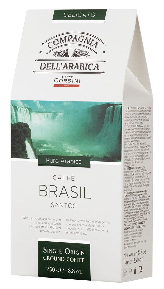 Compagnia DellArabica Brasil Santos молотый кофе, 250 г (вакуумная упаковка)8001684025633Compagnia DellArabica Brasil Santos - один из самых популярных сортов 100% арабики в мире. Теплота молочного шоколада, оживленная цитрусовыми акцентами тонко сочетается с линией свежести южно-американских цветущих садов. Для этого напитка характерна низкая кислотность и идеальная структура. Чтобы насладиться неповторимым вкусом молотого кофе от Compagnia DellArabica, вы можете приготовить его любым известным вам способом, даже просто залив кипятком в чашке!