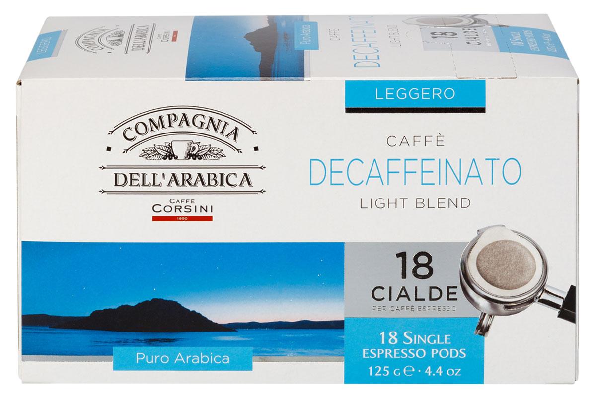 Compagnia DellArabica Caffe Decaffeinato кофе в чалдах, 18 шт0120710Compagnia DellArabica Caffe Decaffeinato - идеальный выбор для ценителей, имеющих ограничения в потреблении кофеина. Кофе декофеинизирован самым современным способом - водной декофеинизацией, что гарантирует аромат и крепость классического кофе. Содержание кофеина около 10 мг. Сорт обладает свежим, мягким вкусом и земным ароматом. Для приготовления в чалдовых кофемашинах.