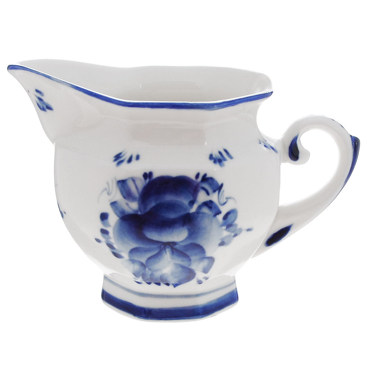 Молочник Гжельские узоры, цвет: белый, синий, 325 мл115510Молочник Гжельские узоры изготовлен из высококачественной керамики и оформлен легкой росписью, которая сочетает простые линии и орнаменты с красивыми цветочными узорами. Изделие предназначено для подачи молока и сливок. Изящный дизайн молочника придется по вкусу и ценителям классики, и тем, кто предпочитает утонченность и изысканность. Гжель - один из традиционных российских центров производства керамики и известный народный художественный промысел России. Производят изделия в Московской области, в обширном районе из 27 деревень, называемых Гжельский куст. Профессиональные мастера сохраняют традиции росписи и создают истинные шедевры. Ей характерна изящная роспись в синих тонах на белом фоне. Традиционными считаются изображения птиц, цветов и узоров. Роспись на изделиях выполняется вручную. Каждое изделие уникально. Гжельская посуда никогда не выцветает и абсолютно безопасна для здоровья. На дне стоит клеймо Гжельского производства. Обращаем ваше внимание, что роспись на изделие сделана вручную. Рисунок может немного отличаться от изображения на фотографии. Можно мыть в посудомоечной машине.Объем: 325 мл. Диаметр (по верхнему краю): 8 см. Диаметр дна: 6 см.Высота: 9 см.