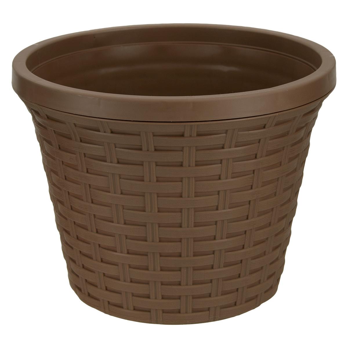 Кашпо круглое Violet Ротанг, с дренажной системой, цвет: какао, 3,4 лZ-0307Круглое кашпо Violet Ротанг изготовлено из высококачественного пластика и оснащено дренажной системой для быстрого отведения избытка воды при поливе. Изделие прекрасно подходит для выращивания растений и цветов в домашних условиях. Лаконичный дизайн впишется в интерьер любого помещения.Объем: 3,4 л.